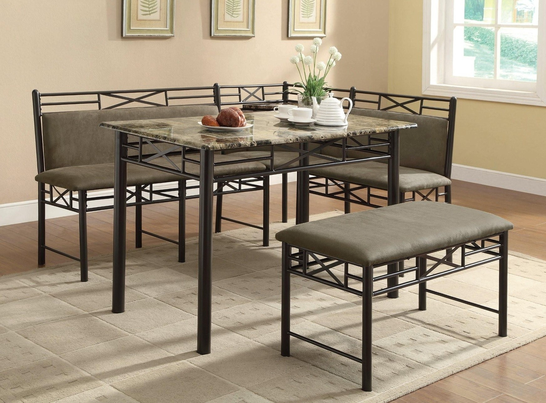 Most Current Furniture. Sturdy Dining Table With Bench: Black Metal Finish Dining With Regard To Dark Wood Square Dining Tables (Gallery 24 of 25)