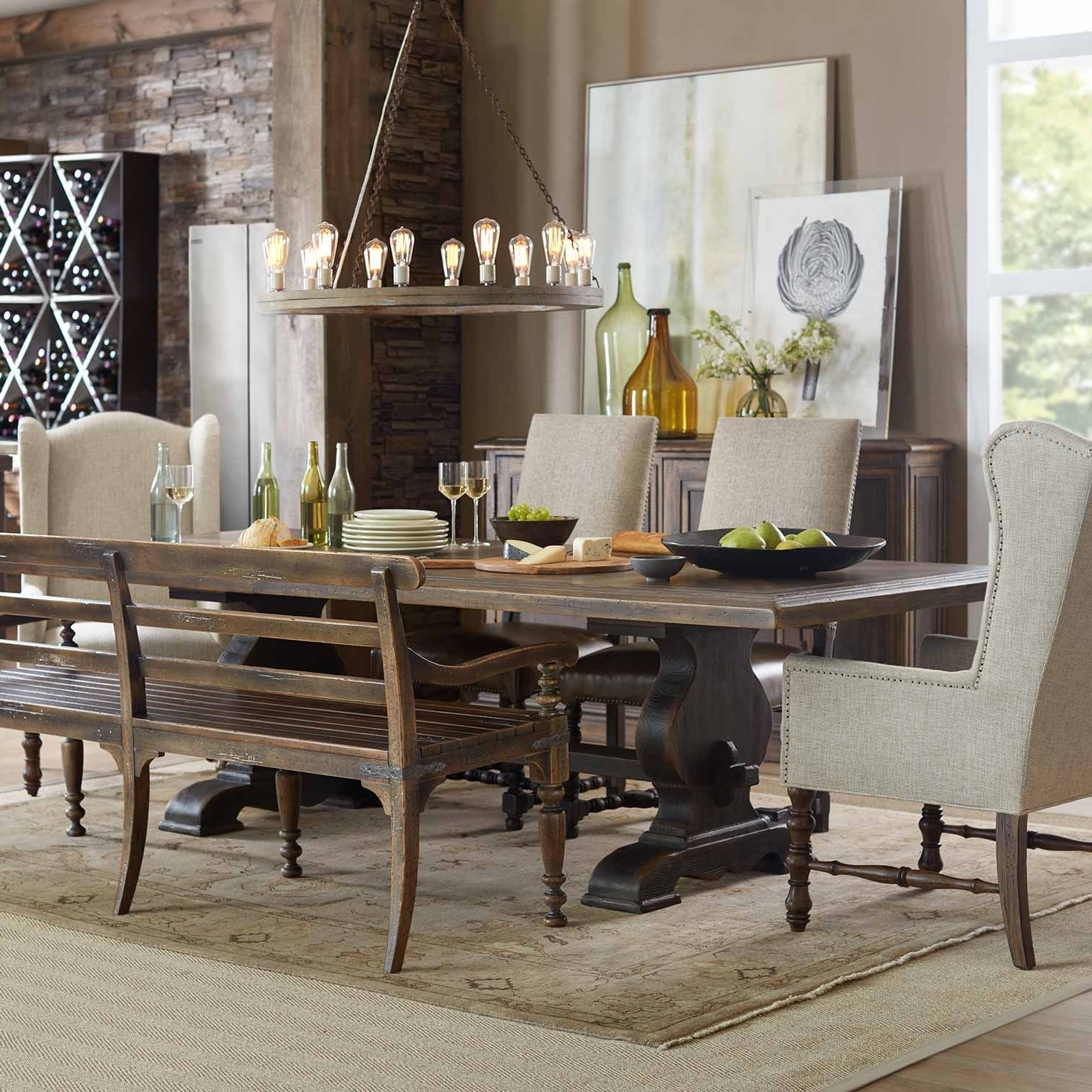 Most Current Hill Country Bandera Wood Rectangular Trestle Dining Table In Dark With Regard To Dark Wood Dining Tables (View 18 of 25)