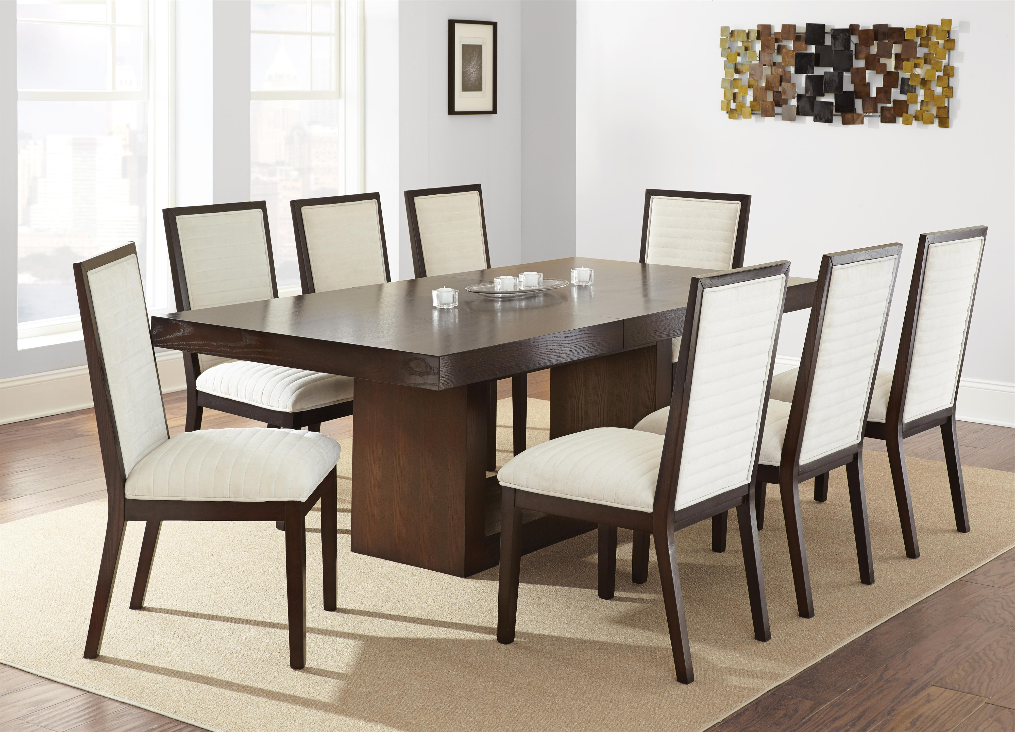 Most Current Jaxon 5 Piece Extension Round Dining Sets With Wood Chairs Regarding Steve Silver Antonio Dining Table With Contemporary Pedestal Base (Gallery 19 of 25)