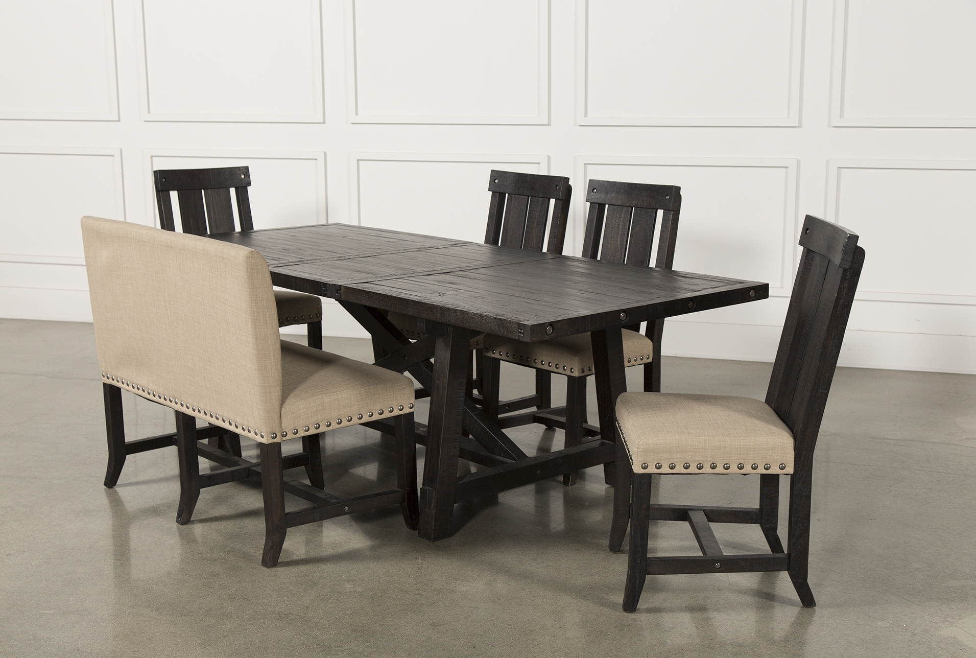 Most Current Jaxon 7 Piece Rectangle Dining Sets With Upholstered Chairs With Regard To Jaxon 6 Piece Rectangle Dining Set W/bench & Wood Chairs (Gallery 13 of 25)