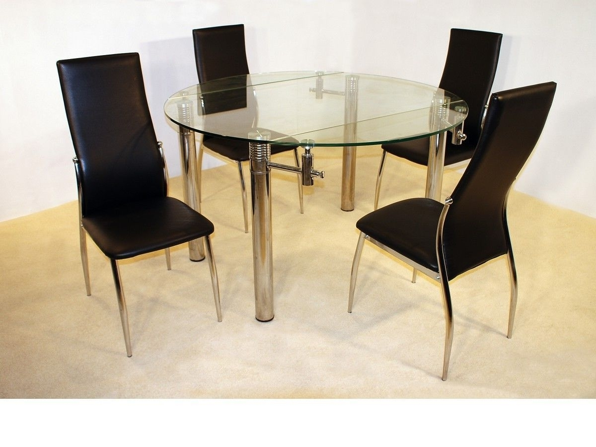 Most Current Large 130Cm Round Clear Glass Dining Table And 4 Chairs Set With Clear Glass Dining Tables And Chairs (View 10 of 25)