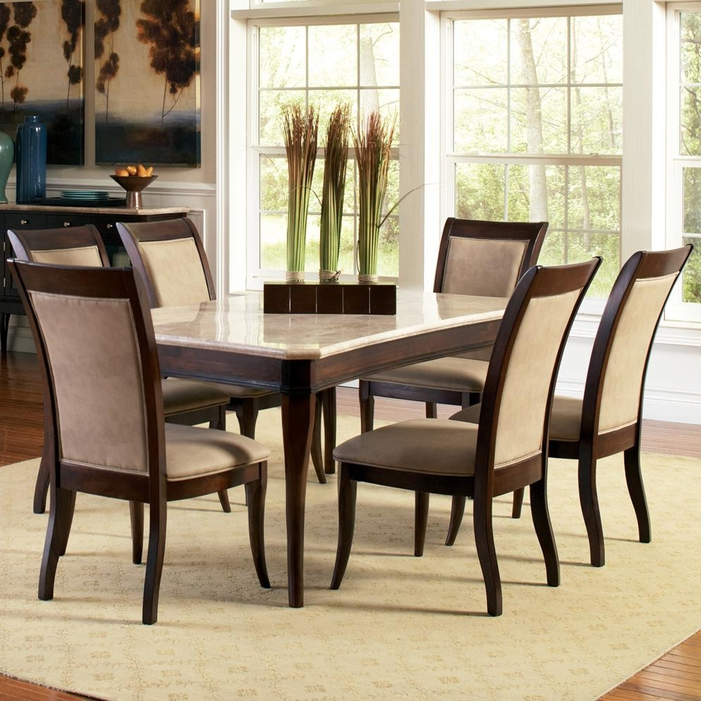 Most Current Marble Dining Chairs Throughout Steve Silver Marseille 7 Piece Rectangular Marble Table And (View 2 of 25)