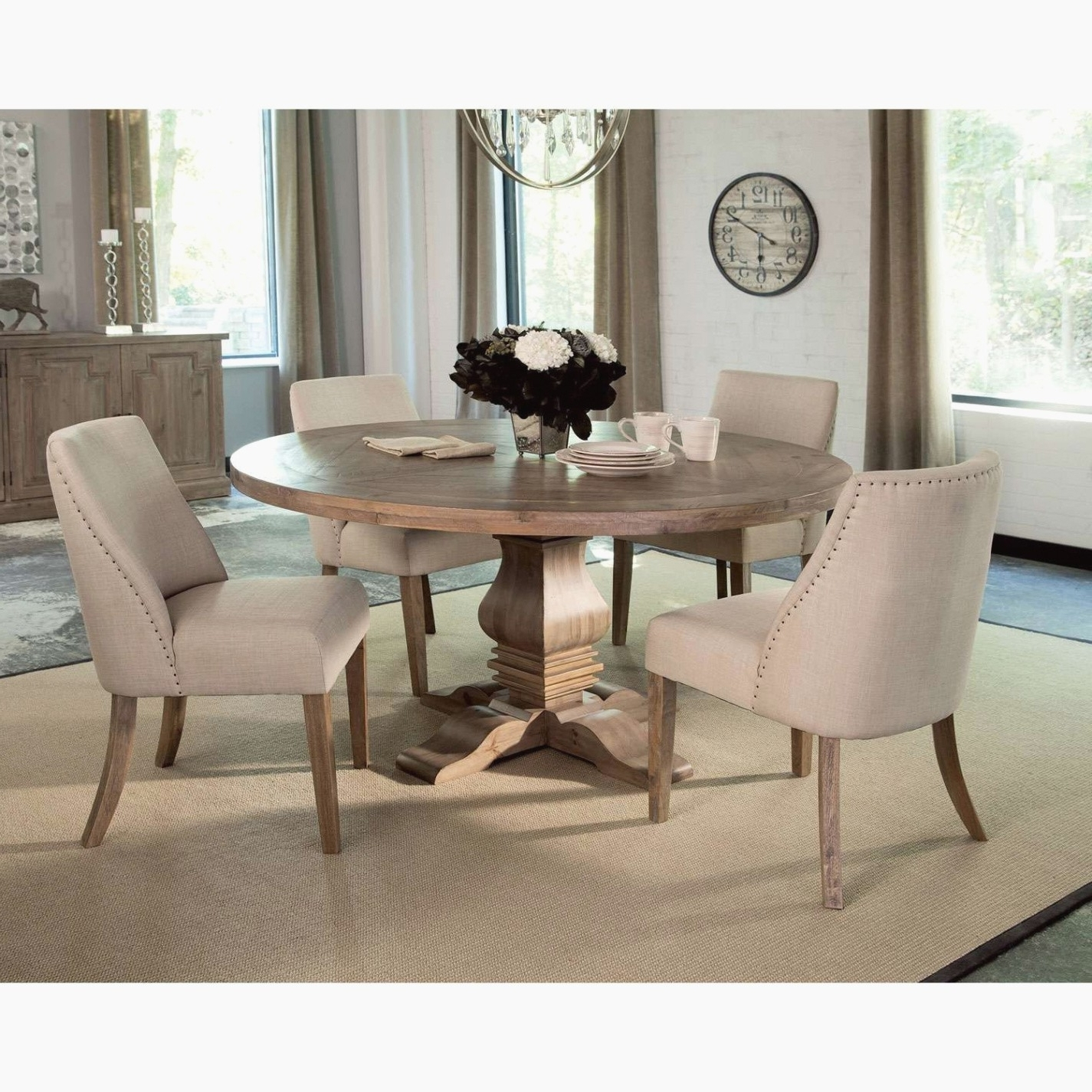 Most Current Mestler Bisque Rectangular Dining Room Table U0026 4 Light Brown Uph For Bradford 7 Piece Dining Sets With Bardstown Side Chairs (View 16 of 25)