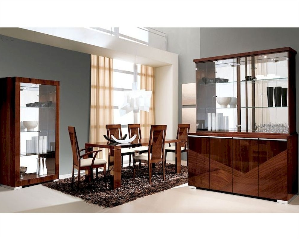 Most Current Modern Dining Set In High Gloss Walnut Finish 33D61 Inside High Gloss Dining Chairs (Gallery 18 of 25)