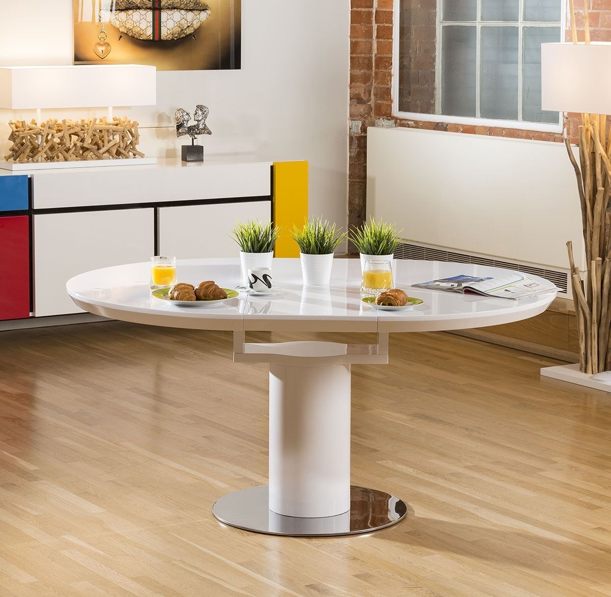 Most Current Modern Dining Table White Gloss Round / Oval Extending 1200 1600Mm With 6  Chairs Intended For White Gloss Dining Tables 140Cm (View 8 of 25)
