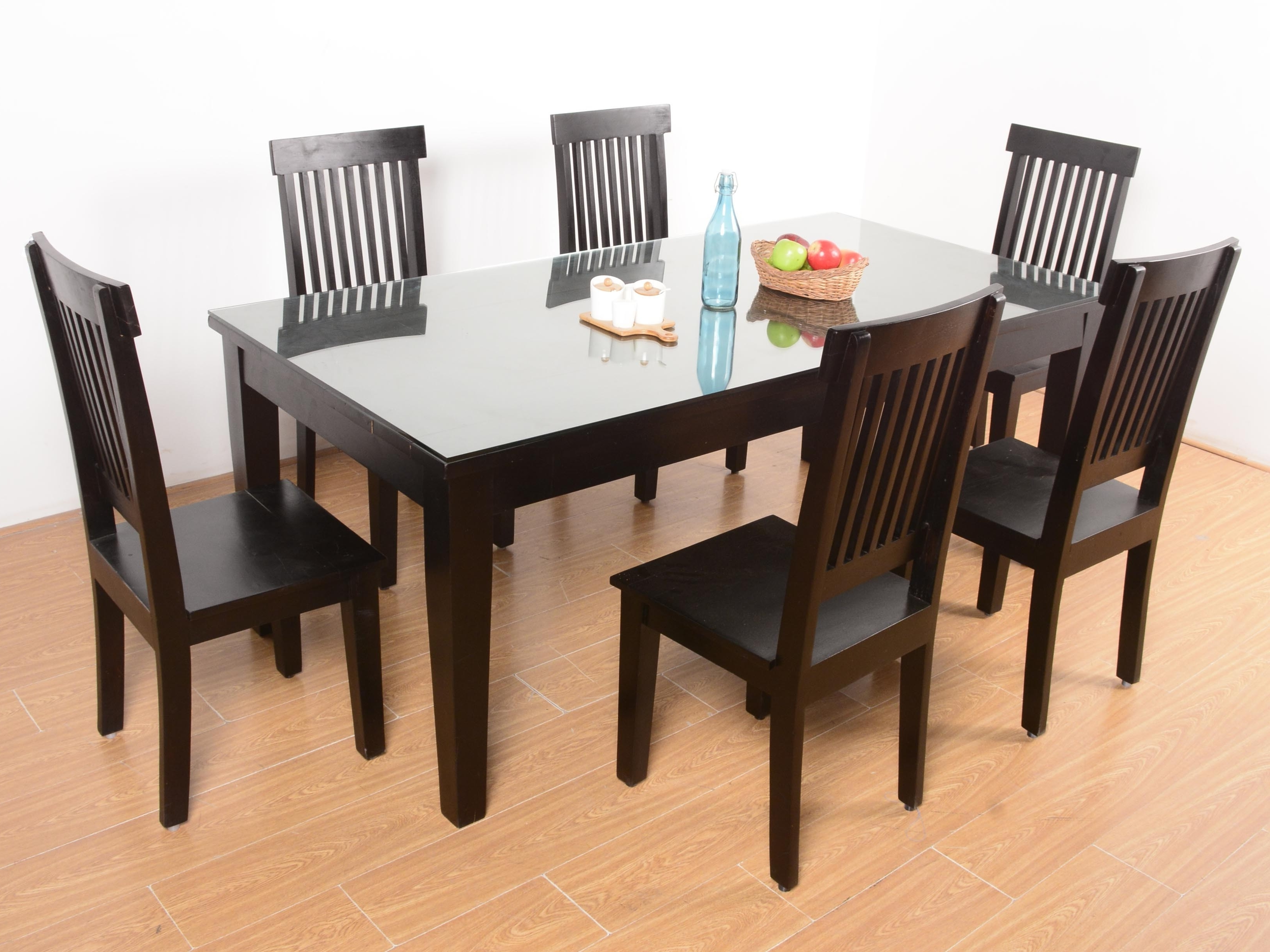 Most Current Netfoold Sheesham Glass Top 6 Seater Dining Set Pertaining To Glass 6 Seater Dining Tables (View 8 of 25)
