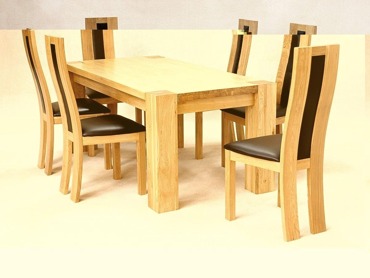 Most Current Oak Dining Tables With 6 Chairs Within Solid Wooden Rectangle Dining Table And 6 Chairs – Homegenies (Gallery 4 of 25)