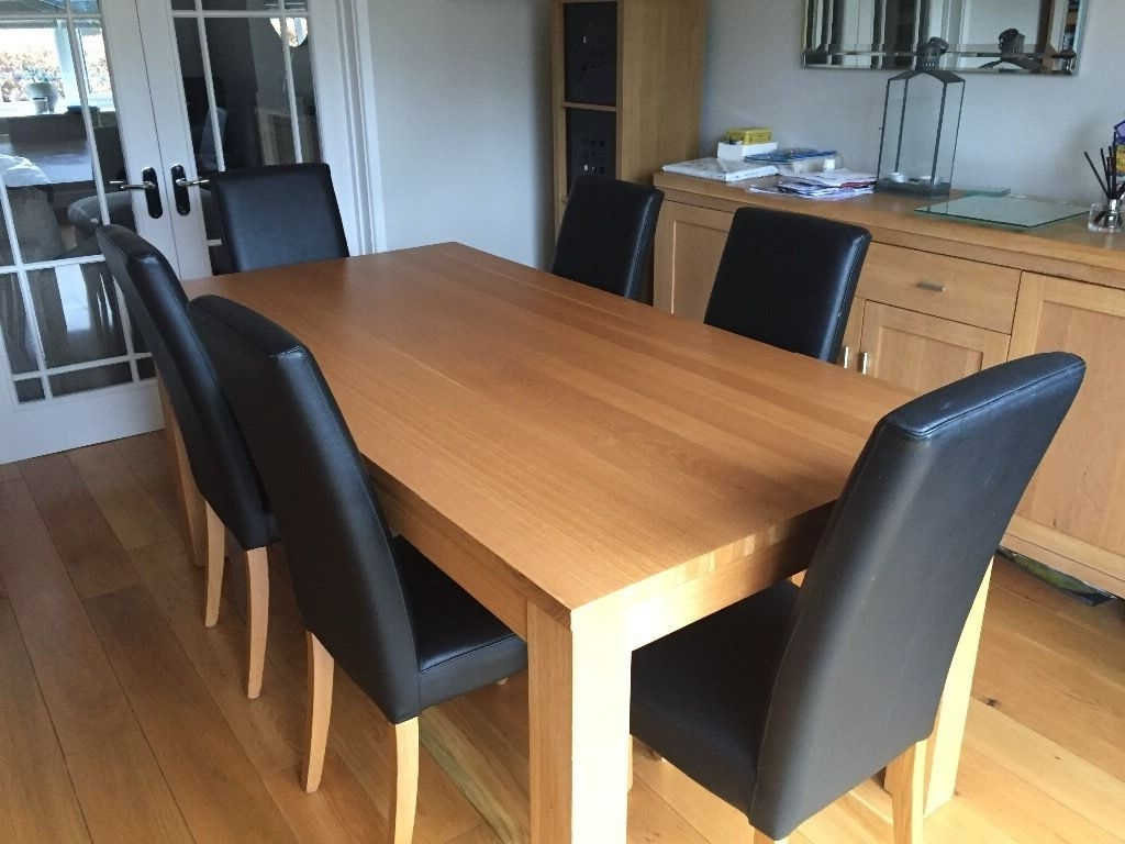 Most Current Oak Leather Dining Chairs For Solid Oak Dining Table With 6 Black Leather Dining Chairs With (View 8 of 25)