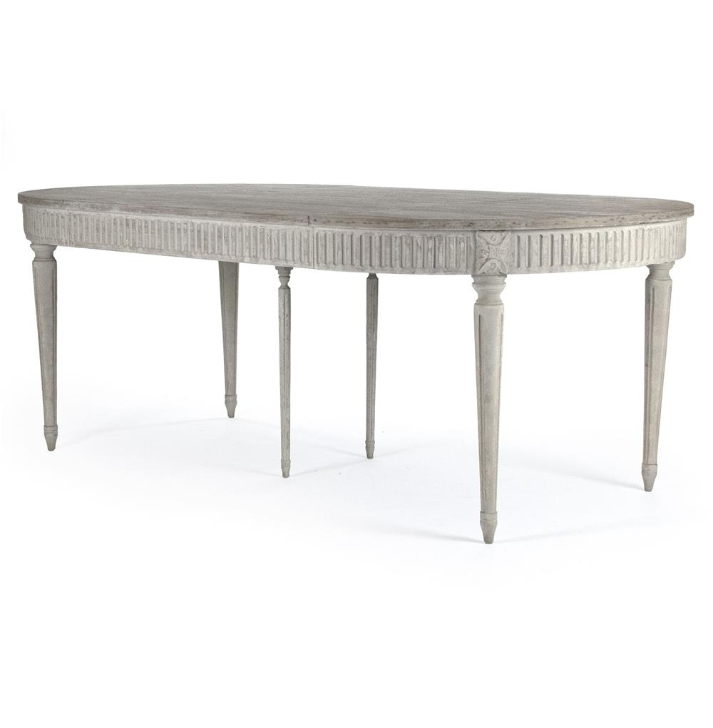 Most Current Oval Reclaimed Wood Dining Tables Pertaining To Floren French Country White Wash Oak Extendable Breakfast Oval (View 22 of 25)