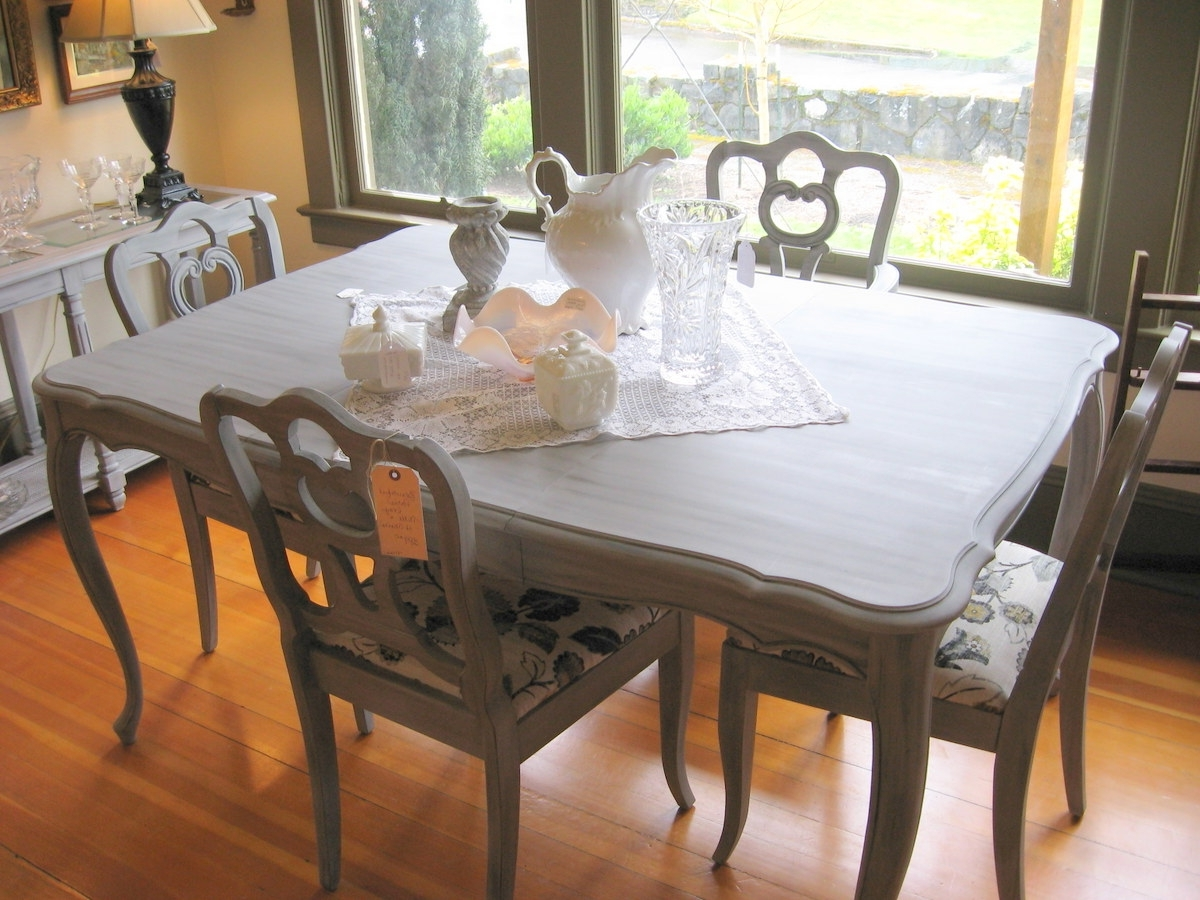 Most Current Paris Dining Tables Regarding A Pretty Paris Grey Dining Table And Chairs – Sold (Gallery 5 of 25)