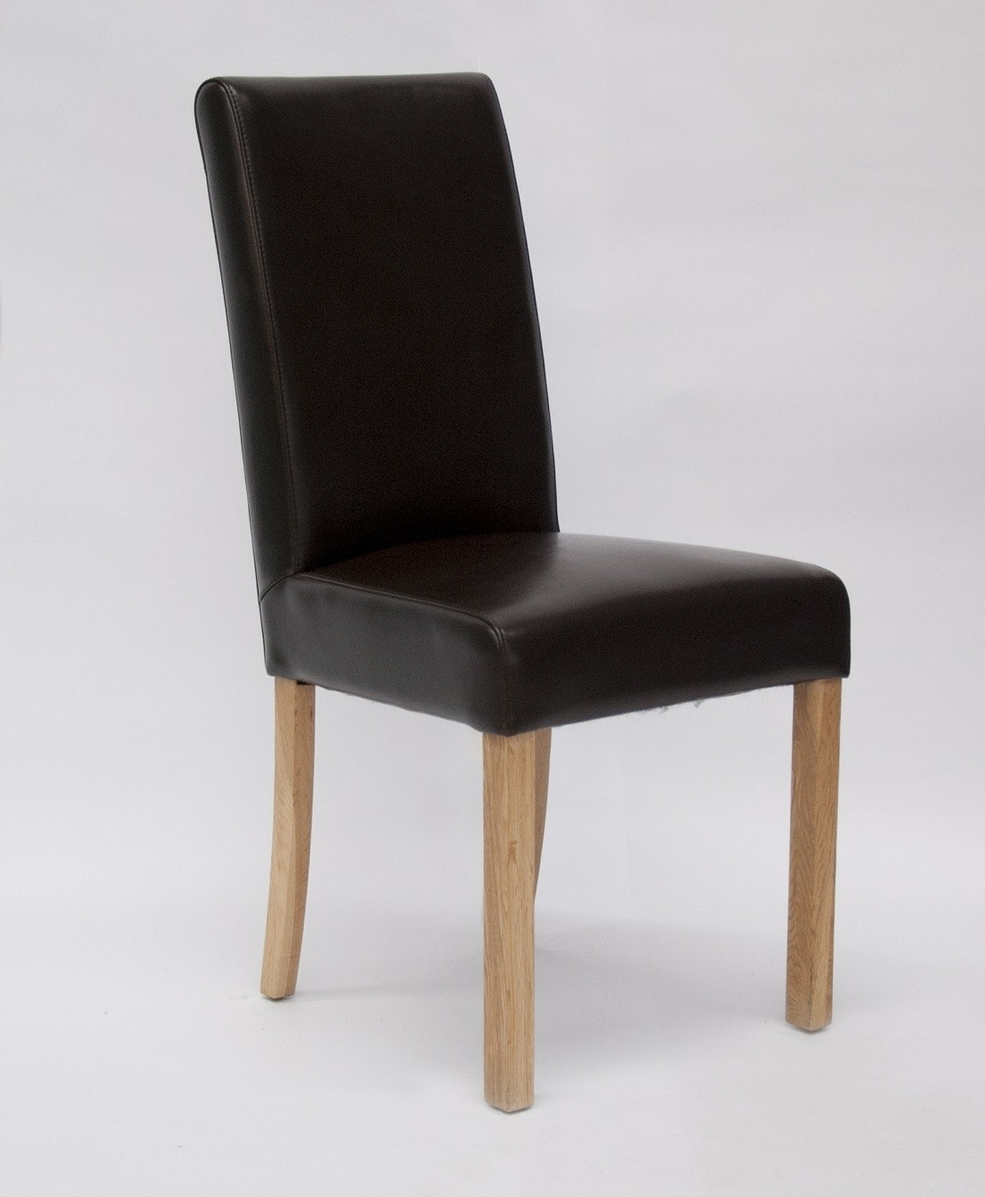 Most Current Real Leather Dining Chairs With Regard To Marianna Brown Leather Dining Chair With Solid Oak Legs (View 8 of 25)