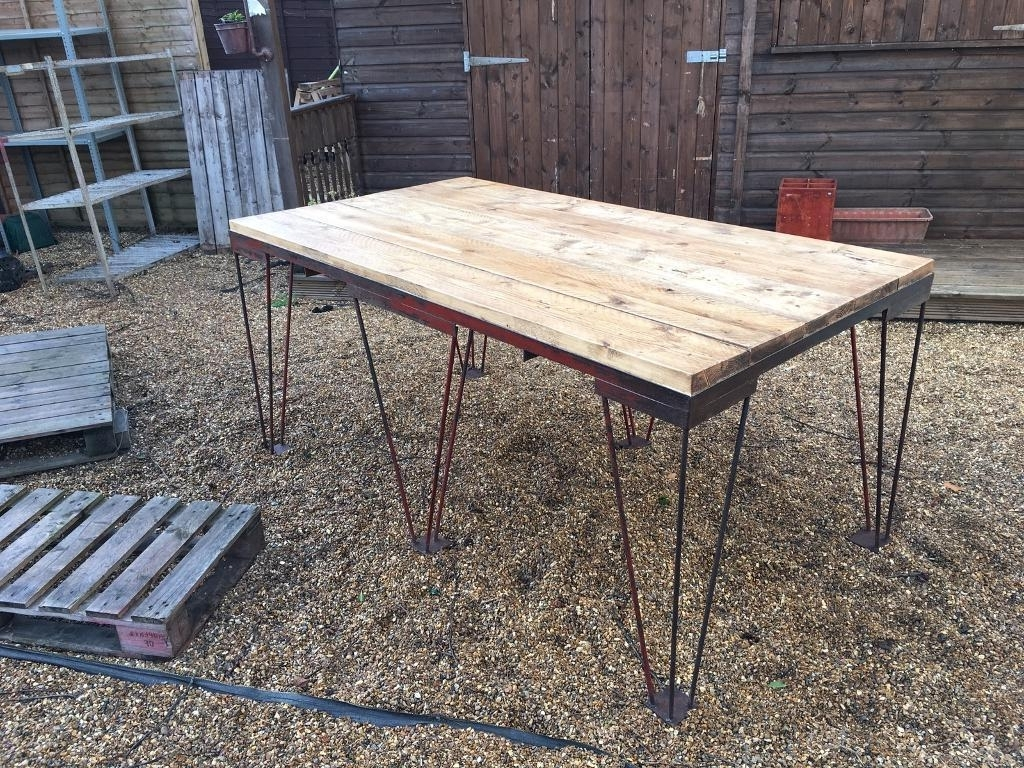 Most Current Rustic Unique Industrial Large Dining Table Vintage Hairpin Legs In Washed Old Oak & Waxed Black Legs Bar Tables (View 12 of 25)