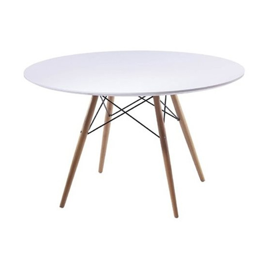 Most Current Shop Fine Mod Imports White Fiberglass Round Dining Table At Lowes For Round White Dining Tables (View 12 of 25)