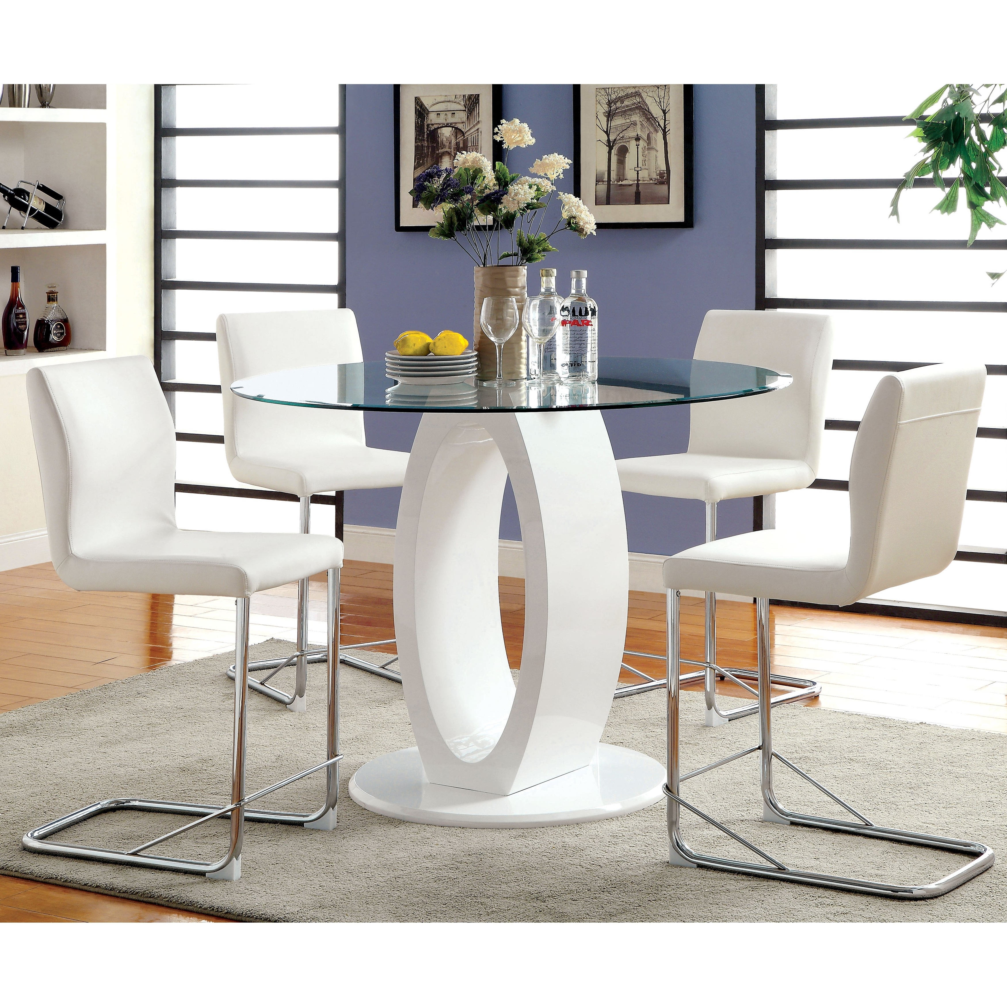 Most Current Shop Furniture Of America Olgette Contemporary High Gloss Round Regarding Oval White High Gloss Dining Tables (View 10 of 25)