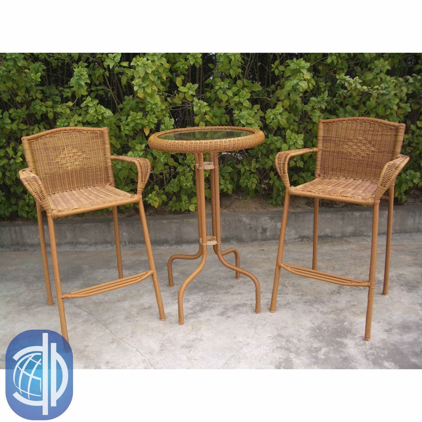 Most Current Shop International Caravan Resin Wicker Outdoor 3 Piece Bar Height Regarding Valencia 3 Piece Counter Sets With Bench (View 12 of 25)