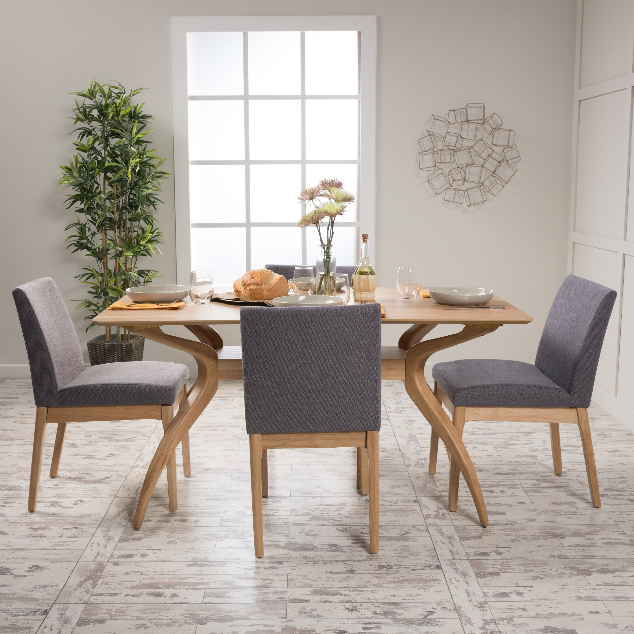 Most Current Shop Kwame Mid Century 5 Piece Rectangle Dining Setchristopher Within Laurent 5 Piece Round Dining Sets With Wood Chairs (View 15 of 25)