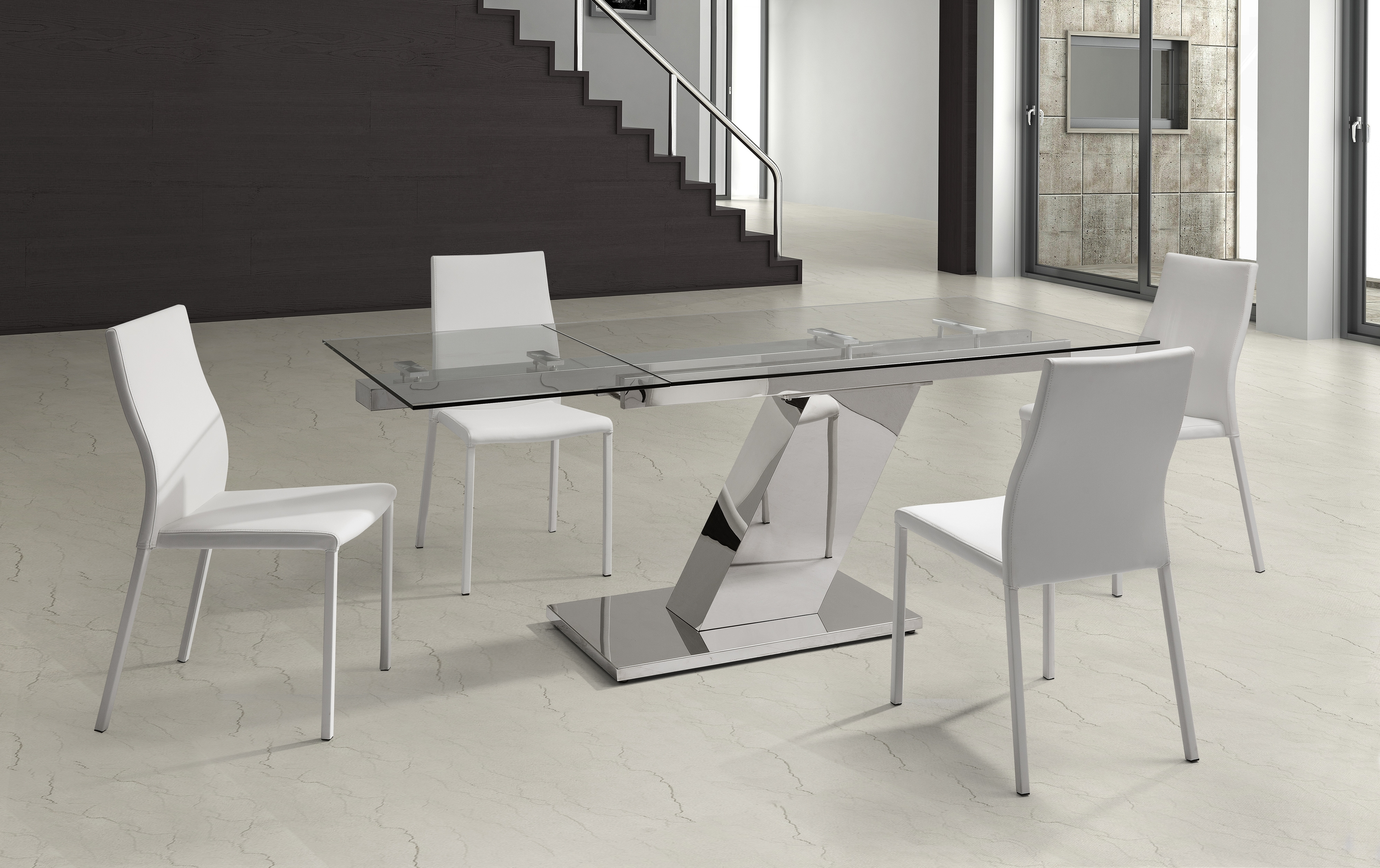 Most Current Sleek Dining Tables Throughout Sleek Extendable Dining Table 1/2″ Tempered Clear Glass Top (View 9 of 25)