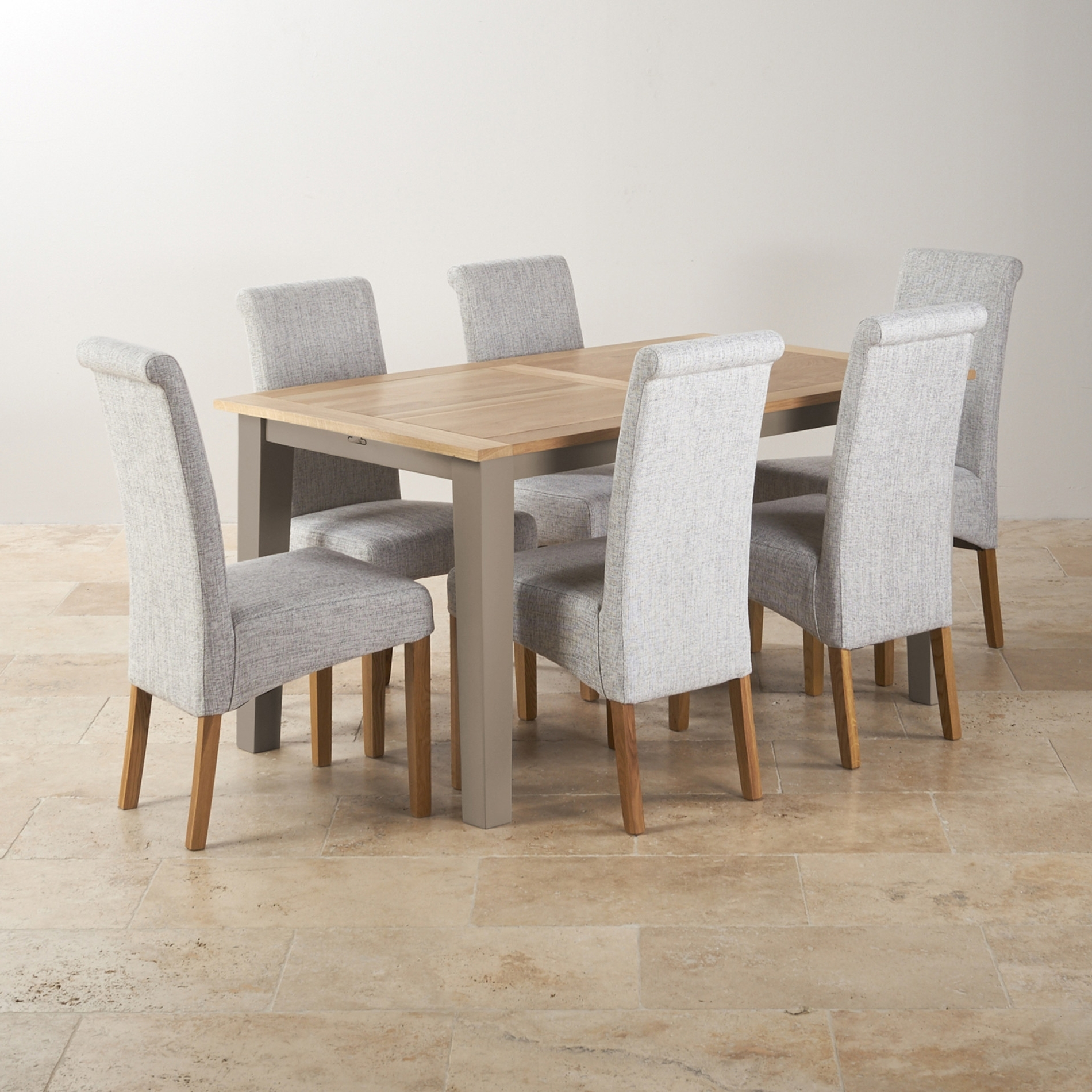 Most Current St Ives Light Grey Painted Extending Dining Table 6 Four Hands Regarding Light Oak Dining Tables And 6 Chairs (View 12 of 25)