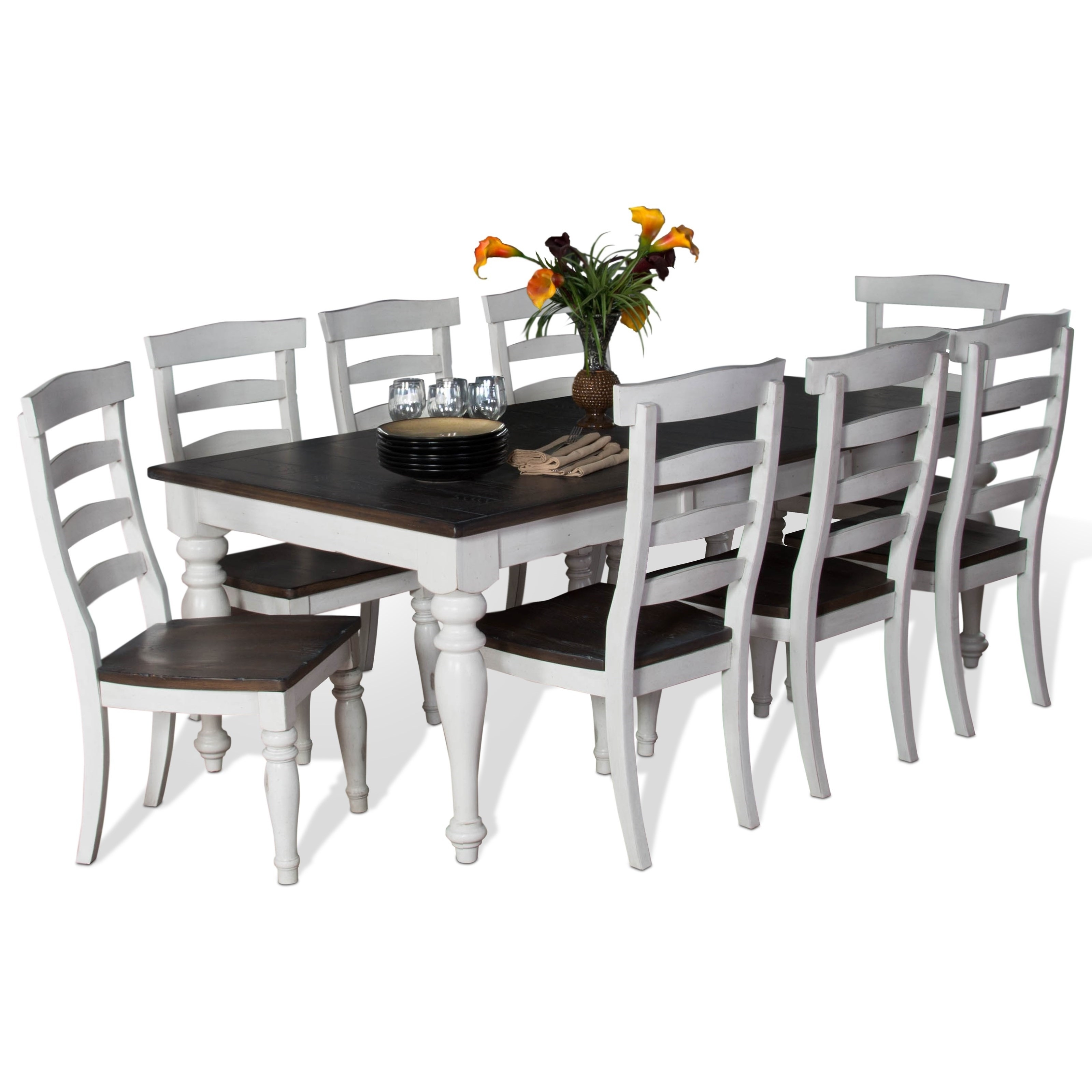 Most Current Vfm Signature Bourbon County 9 Piece Extension Dining Table Set With In Extended Dining Tables And Chairs (View 19 of 25)