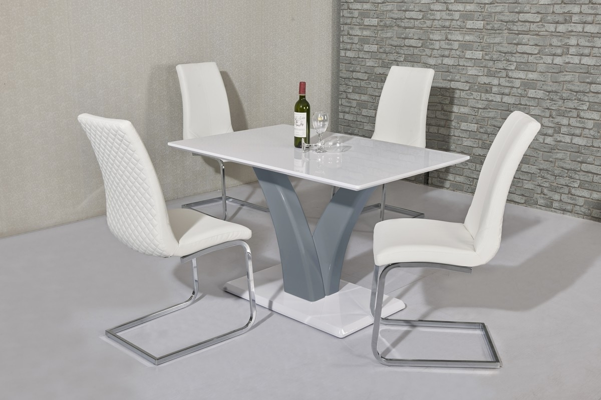Most Current Wow Slim High Gloss White/grey120 Cm Dining Table In High Gloss White Dining Chairs (View 21 of 25)