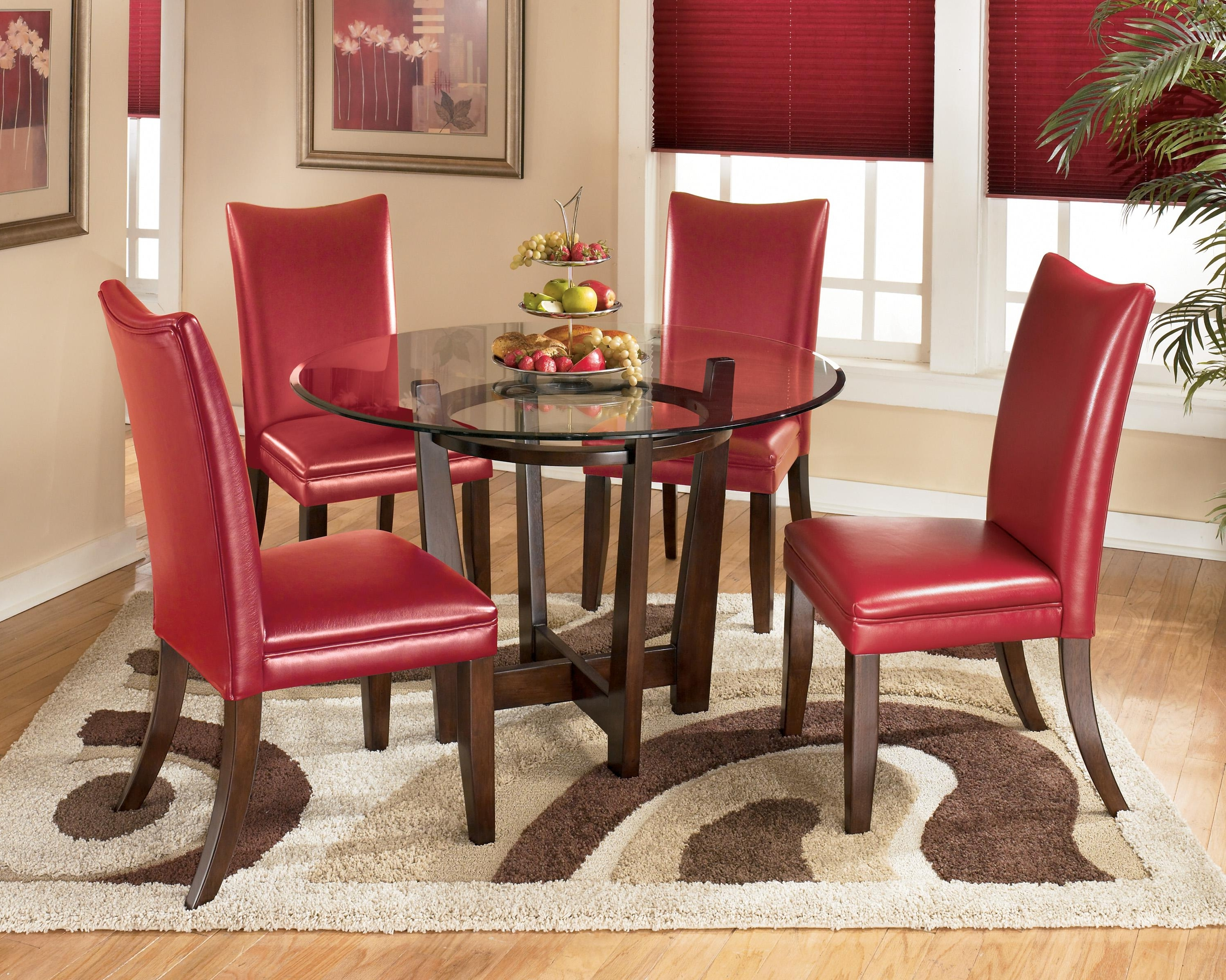 Most Popular 5 Piece Round Dining Table Set With Red Chairssignature Design Intended For Red Dining Tables And Chairs (View 8 of 25)