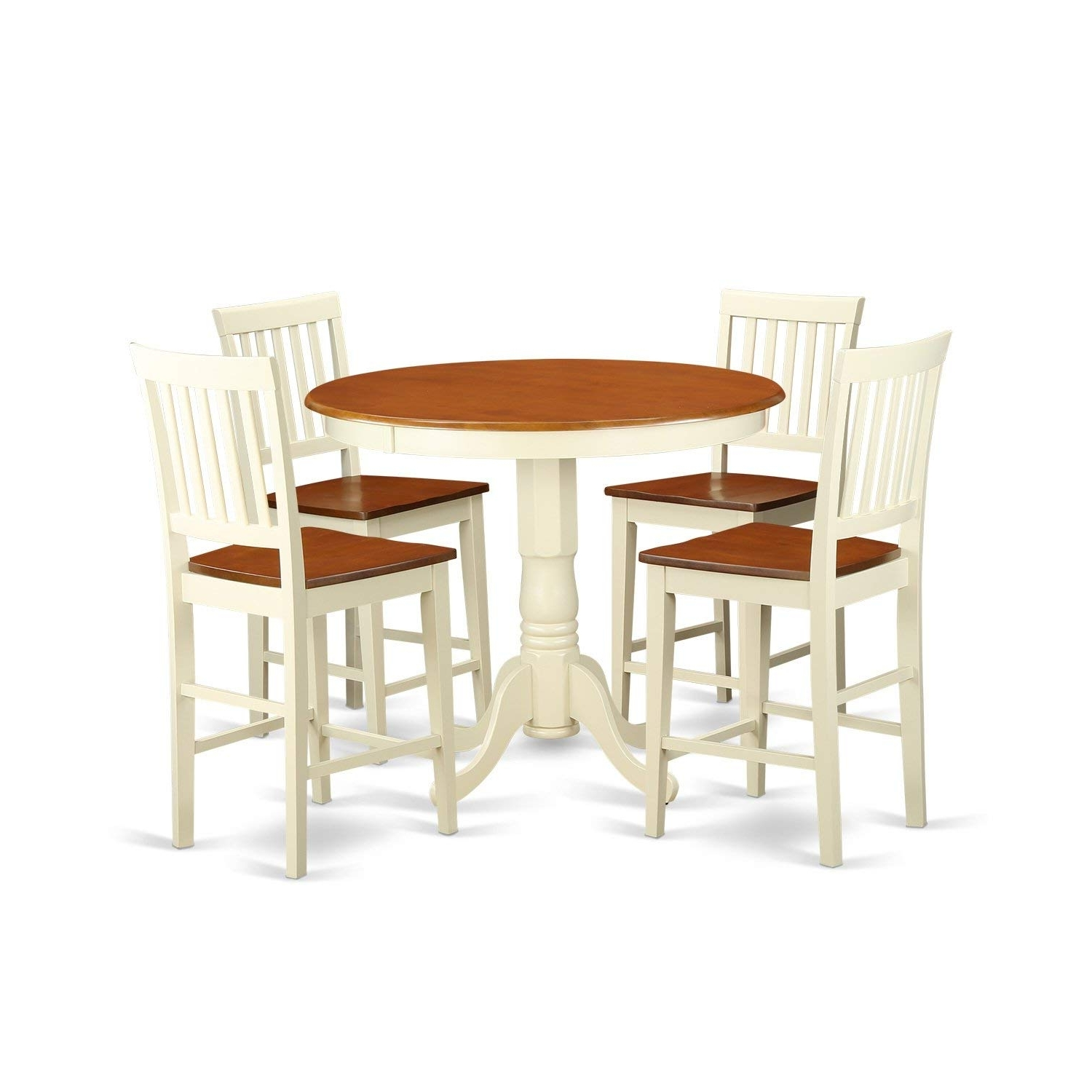 Most Popular Amazon – East West Furniture Javn5 Whi W 5 Piece Counter Height Intended For Jaxon Grey 5 Piece Extension Counter Sets With Wood Stools (View 12 of 25)