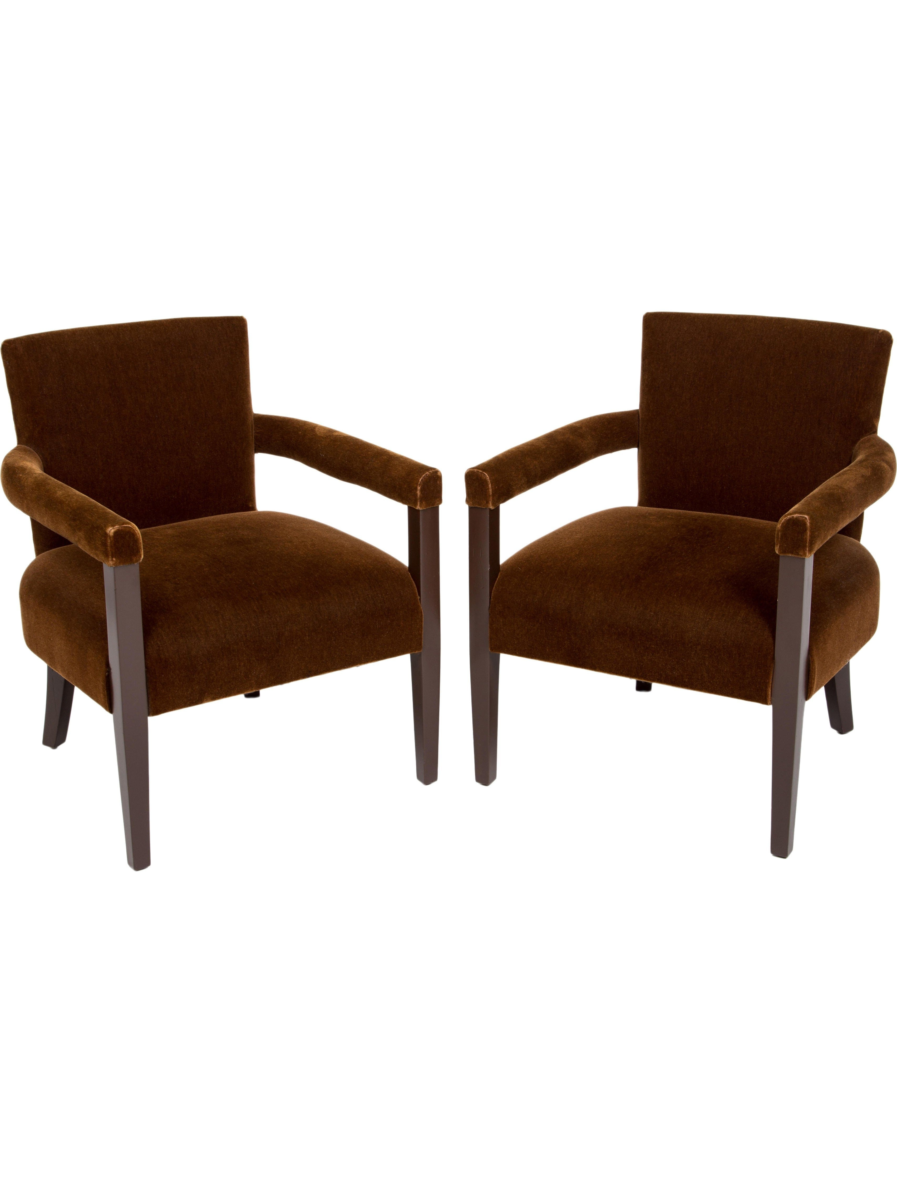 Most Popular Bale 7 Piece Dining Sets With Dom Side Chairs With Pair Of Brown Velvet Armchairs With Broad Seats, Squared Backs (View 5 of 25)