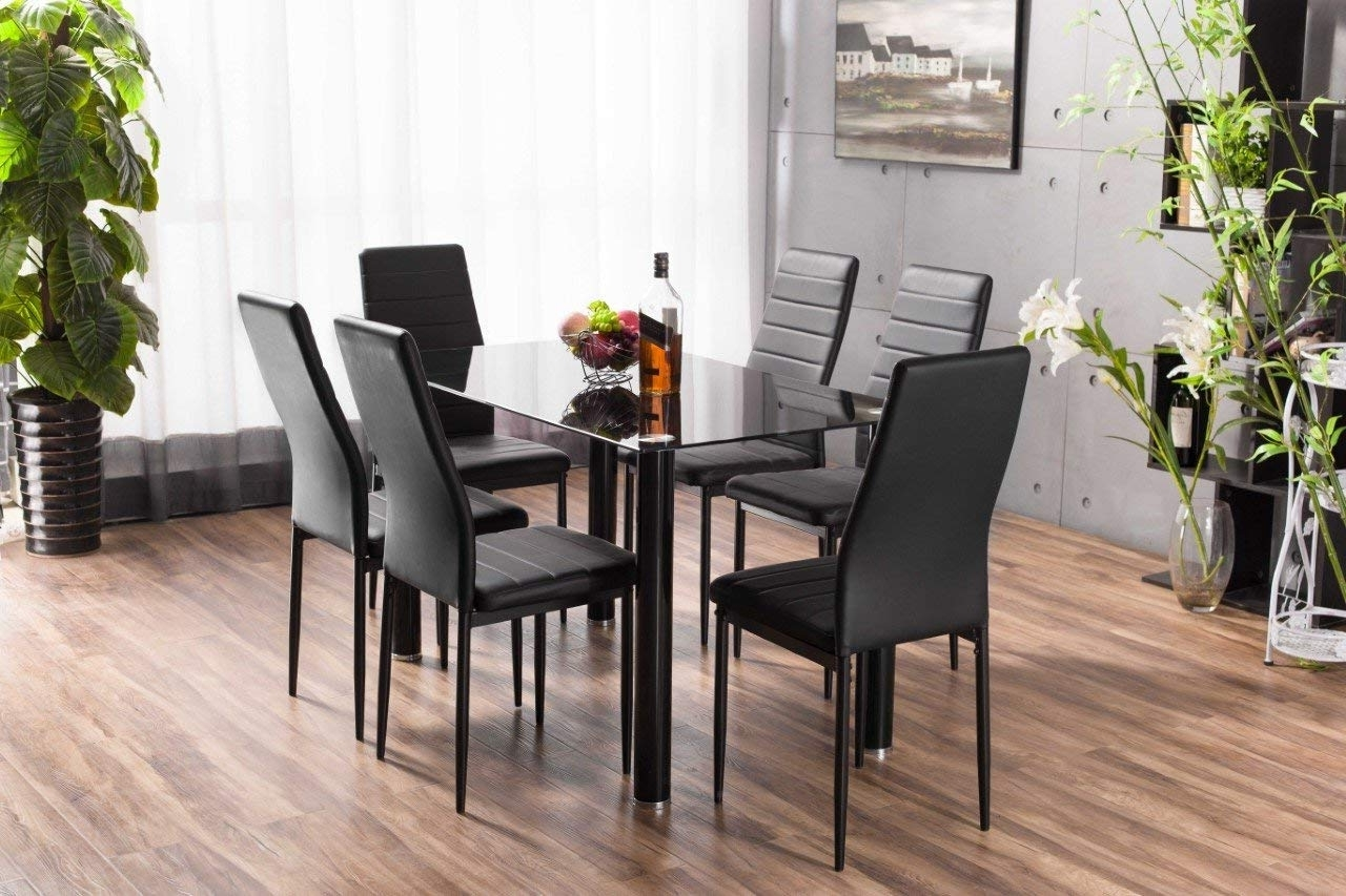Most Popular Black Glass Dining Tables 6 Chairs Pertaining To Lunar Rectangle Glass Dining Table Set And 6 Black Faux Leather (Gallery 4 of 25)