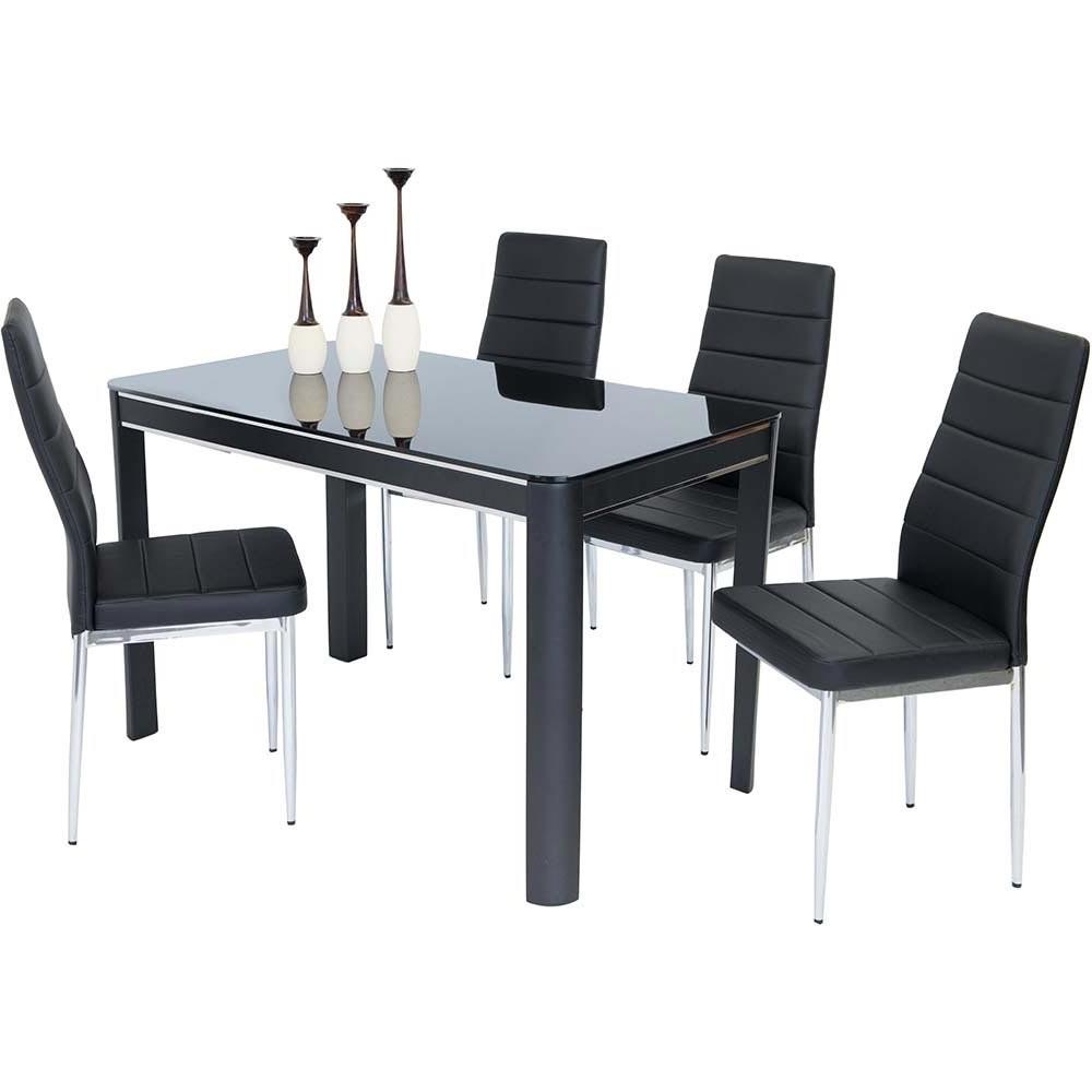 Most Popular Black Gloss Dining Sets Regarding Sweet Slim 70 Cm Wide Narrow Black Gloss Dining Table (Gallery 12 of 25)