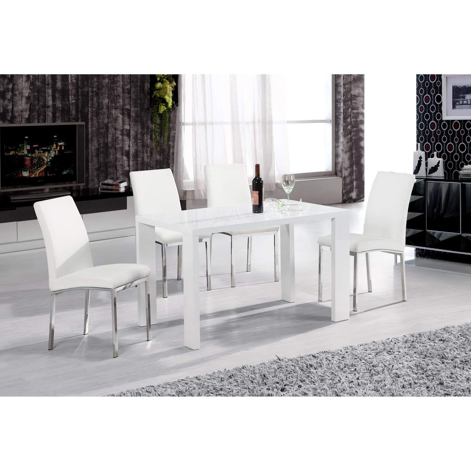 Most Popular Black Gloss Dining Tables And Chairs Pertaining To Heartlands Peru White High Gloss 130Cm Dining Table In Wood – Rectangular  Dining Table – White Dining Table (Gallery 25 of 25)