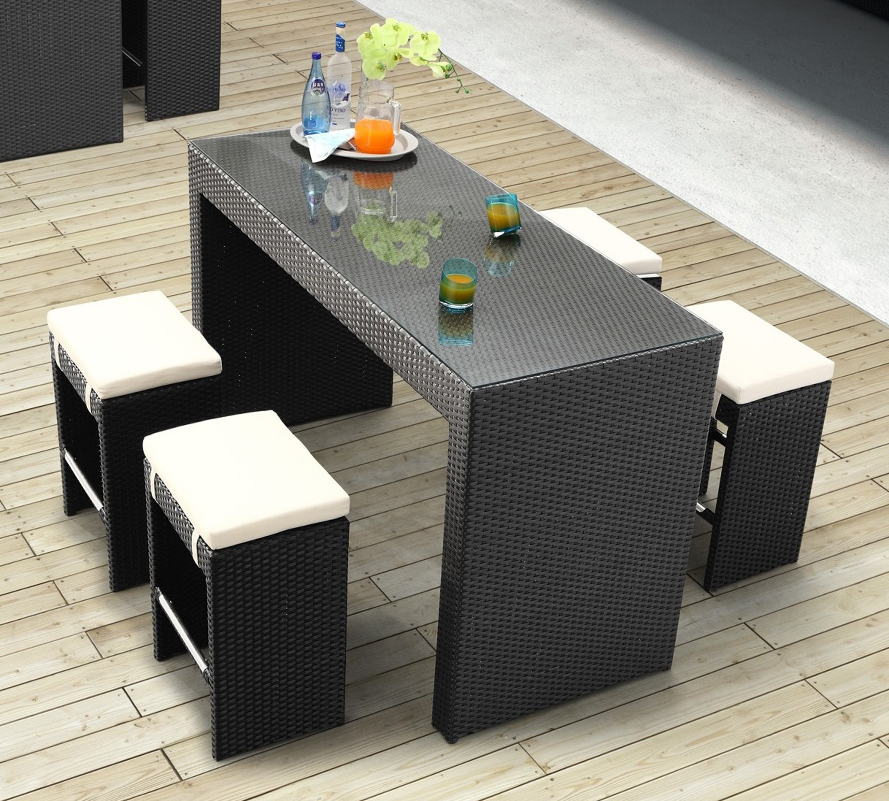 Most Popular Black Seagrass Wicker Dining Sets With Rectangle Glass Top Table And Pertaining To Wicker And Glass Dining Tables (View 8 of 25)