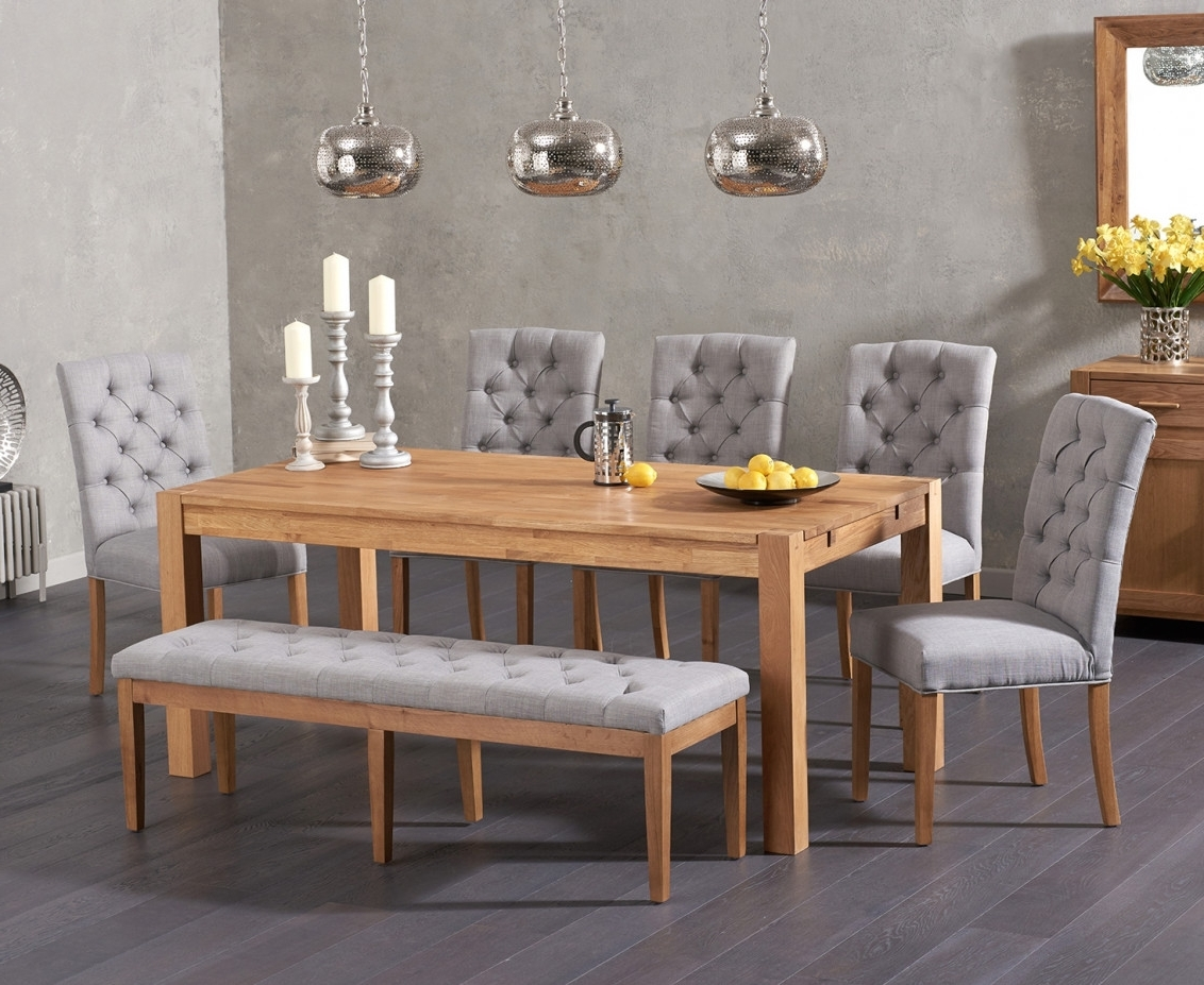 Most Popular Candice Ii 5 Piece Round Dining Sets For Verona 180Cm Solid Oak Dining Table With Candice Fabric Chairs And (Gallery 15 of 25)