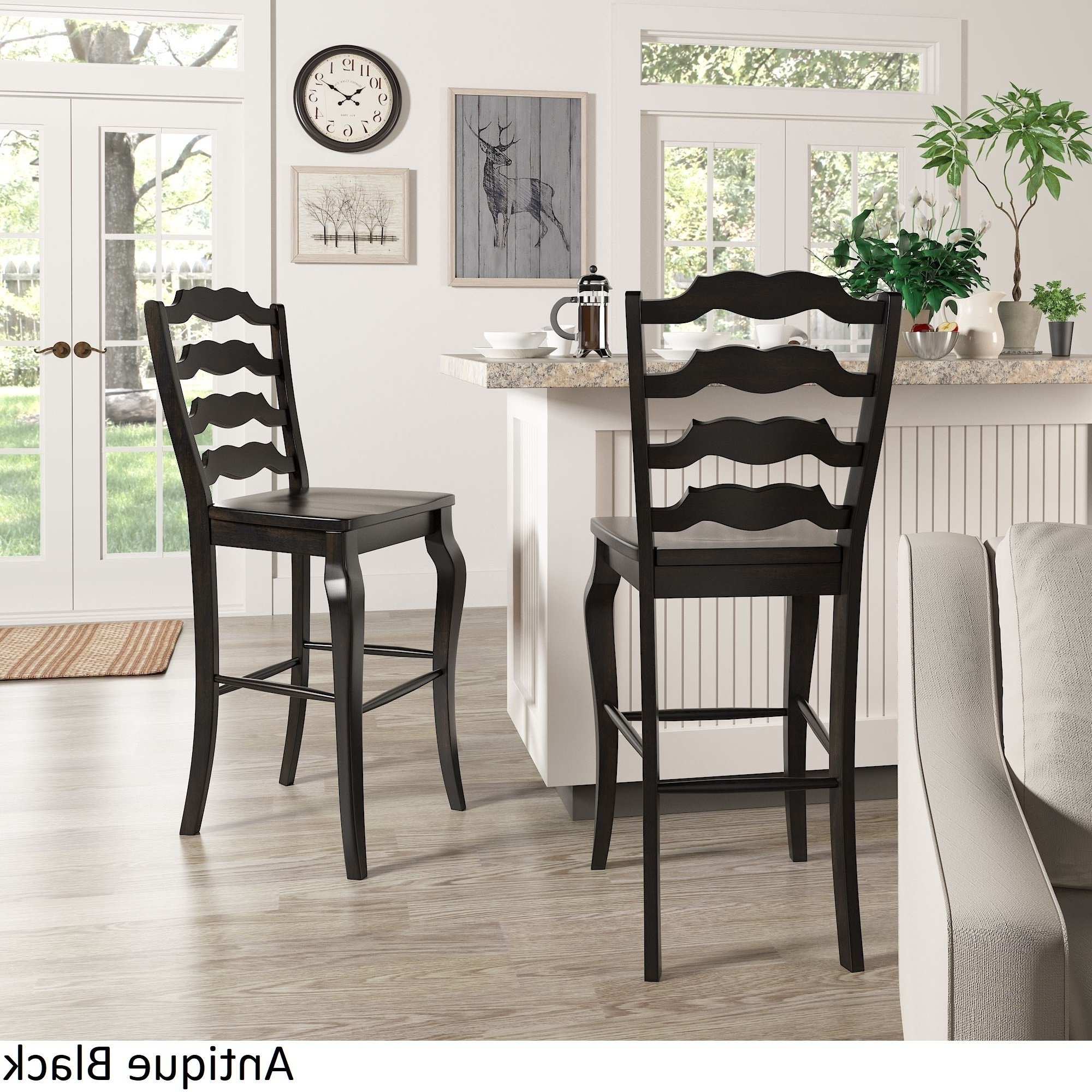 Most Popular Candice Ii 5 Piece Round Dining Sets With Slat Back Side Chairs For Shop Eleanor French Ladder Back Bar Height Chairs (Set Of 2) (View 17 of 25)