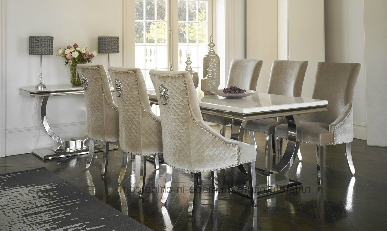 Most Popular China Modern Ivory Cream Marble Top Arianna Chrome Dining Table Intended For Chrome Dining Room Sets (View 18 of 25)