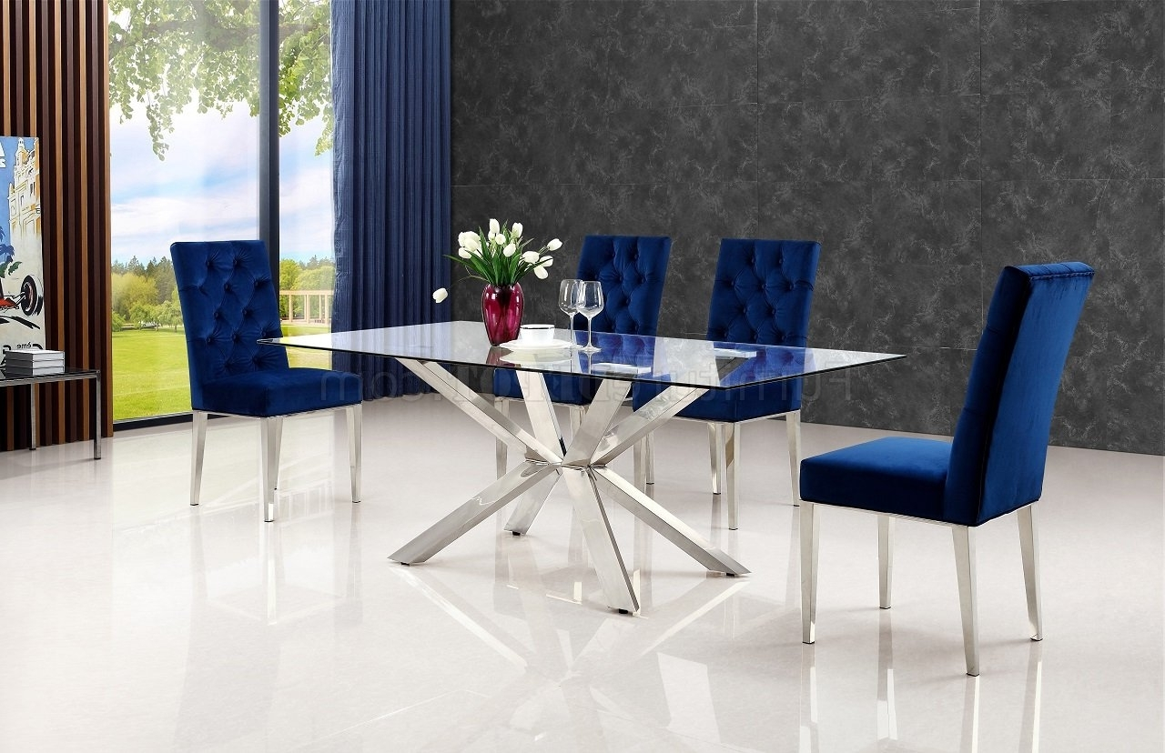 Most Popular Chrome Dining Room Chairs Throughout Juno 732 Chrome Dining Table W/glass Top & Optional Chairs (View 19 of 25)