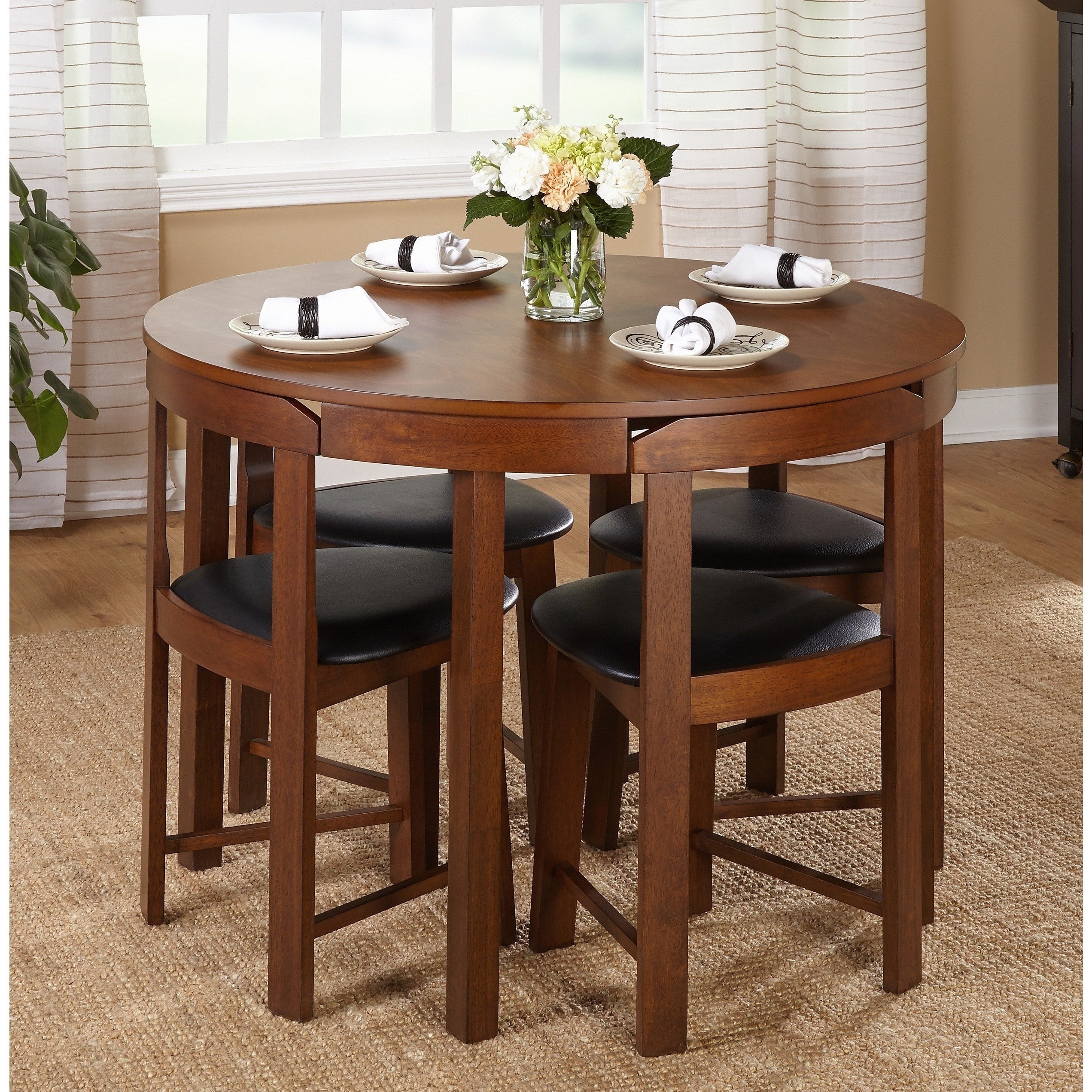 Most Popular Compact Dining Tables And Chairs Within Simple Living 5 Piece Tobey Compact Round Dining Set Room Chairs (View 2 of 25)