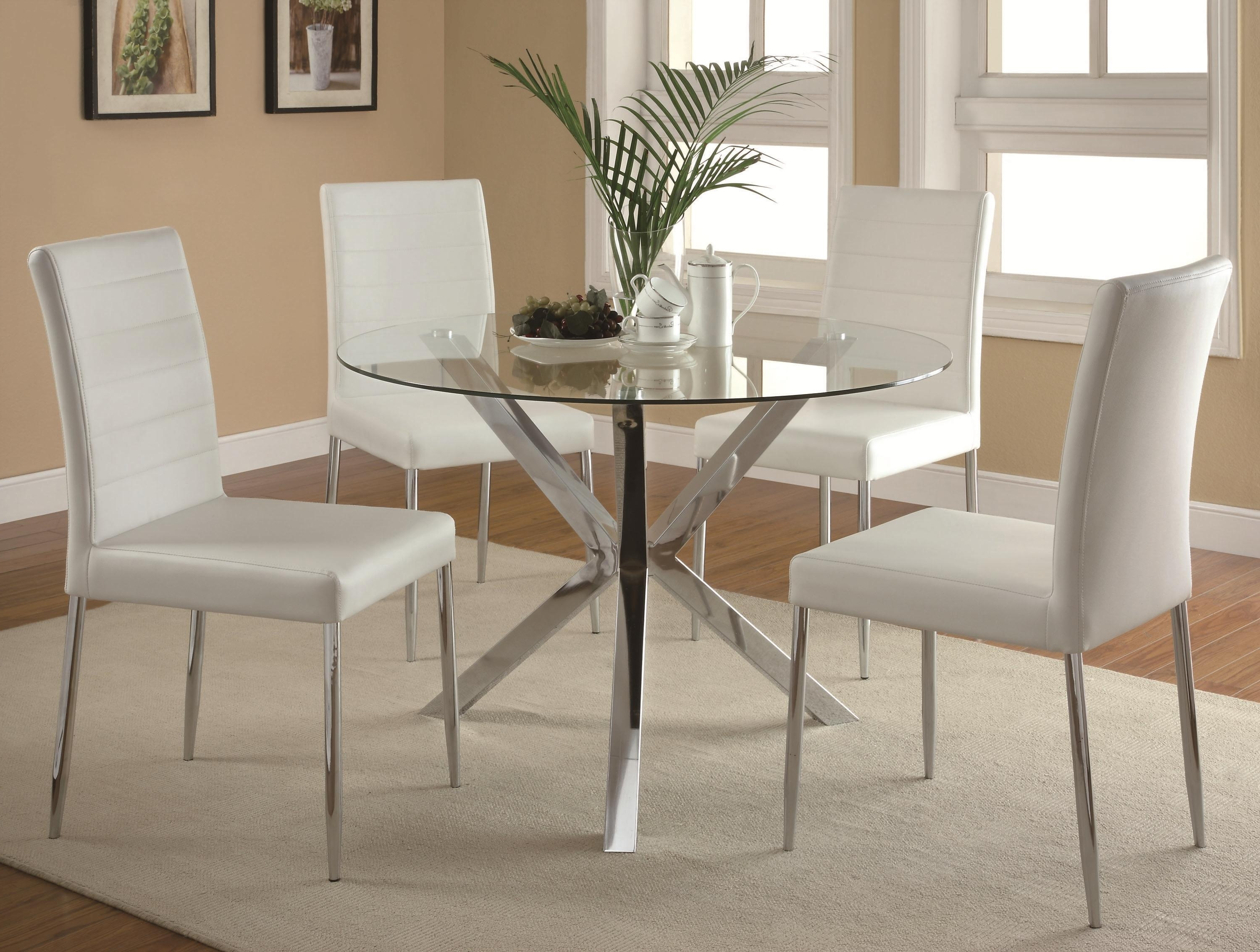 Most Popular Contemporary Base Dining Tables With Regard To Contemporary Glass Top Dining Table With Unique Chrome Base – Vance (View 16 of 25)