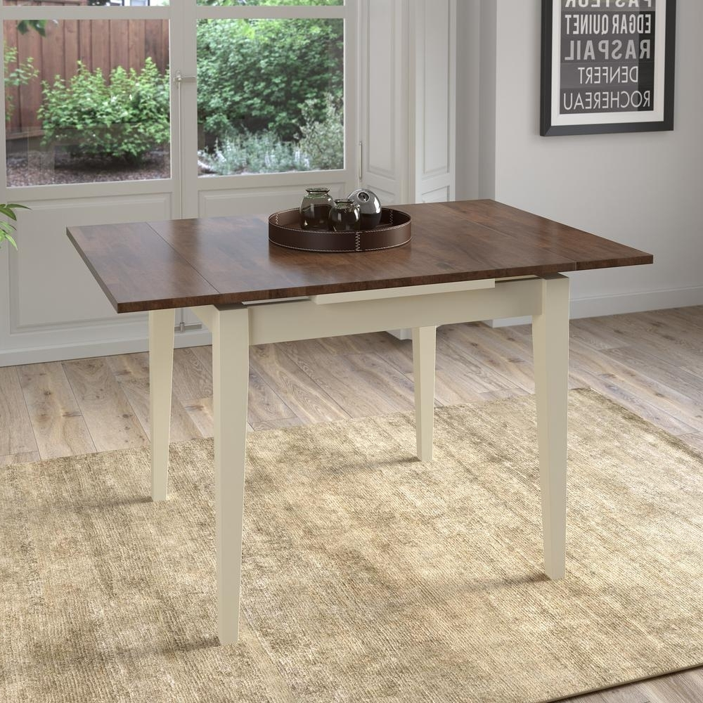 Most Popular Corliving Dillon Dark Brown And Cream Wood Extendable Dining Table Intended For Dark Brown Wood Dining Tables (Gallery 14 of 25)
