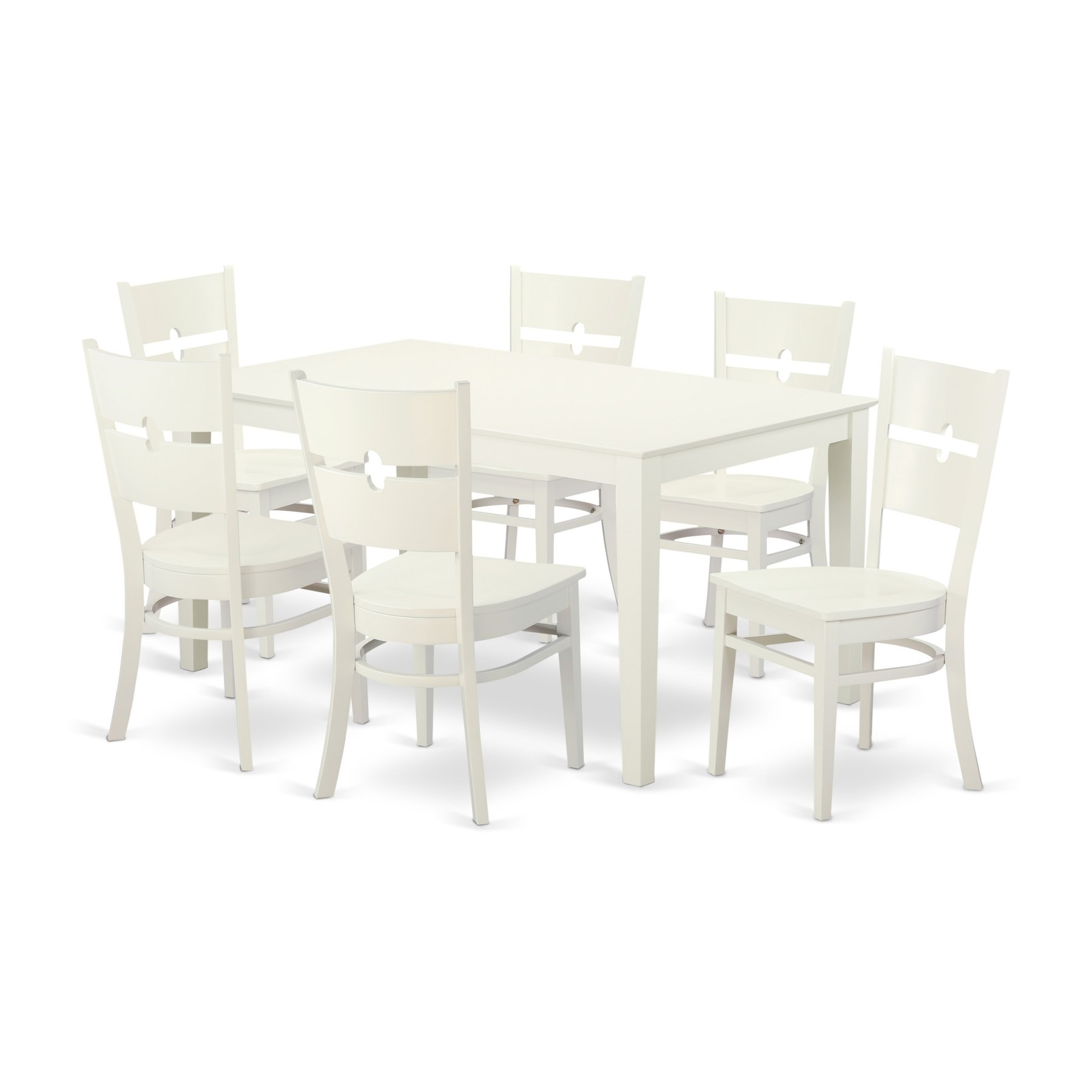 Most Popular Craftsman 5 Piece Round Dining Sets With Uph Side Chairs Throughout East West Furniture Capri Caro7 Seven Piece Dining Table Set In  (View 19 of 25)