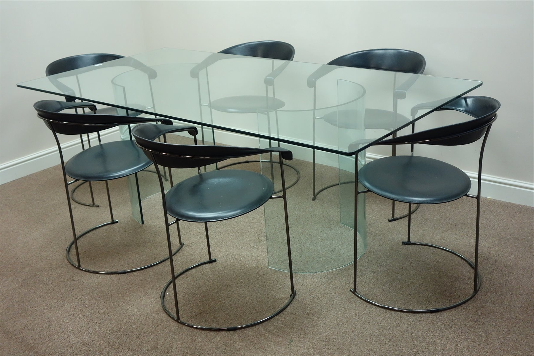 Most Popular Curved Glass Dining Tables Within 1960S Rectangular Glass Dining Table On Two Curved Glass Pedestals (View 18 of 25)