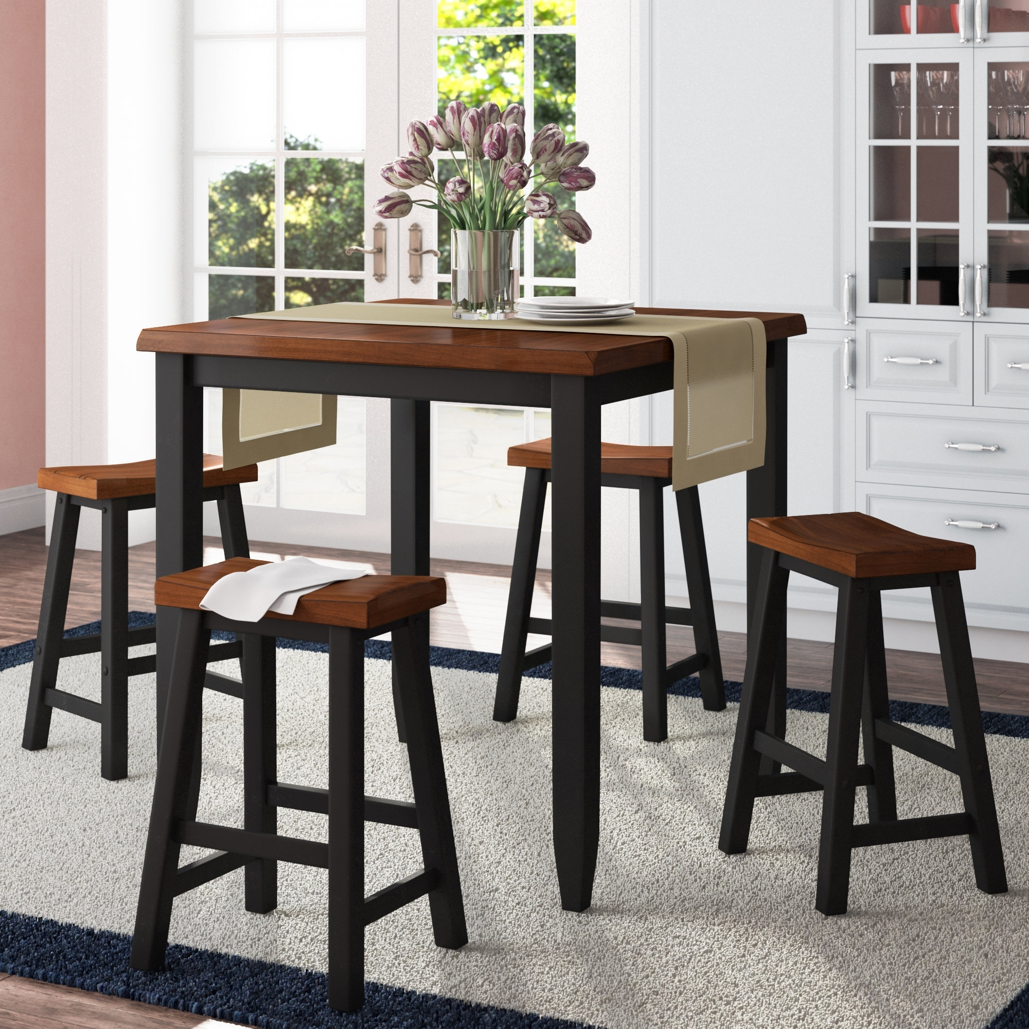 Most Popular Darby Home Co Simmons Casegoods Ruggerio 5 Piece Counter Height Pub Pertaining To Jaxon 5 Piece Round Dining Sets With Upholstered Chairs (Gallery 10 of 25)