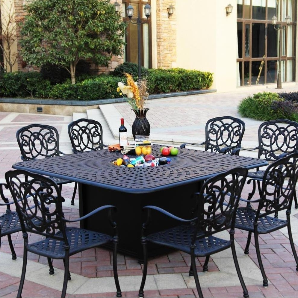 Most Popular Darlee Florence 9 Piece Cast Aluminum Patio Fire Pit Dining Set With Regard To Outdoor Dining Table And Chairs Sets (View 9 of 25)