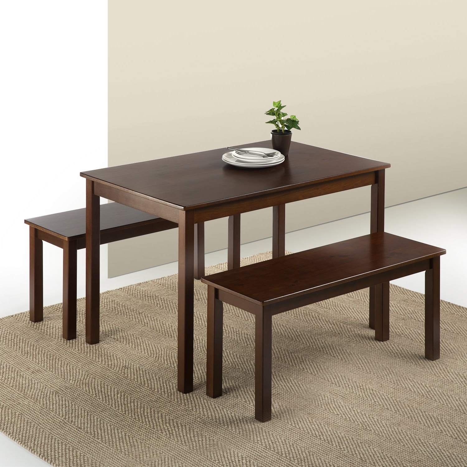 Most Popular Dining Tables And 2 Benches For Zinus Espresso Wood Dining Table With 2 Benches / 3 Piece Set New (View 16 of 25)