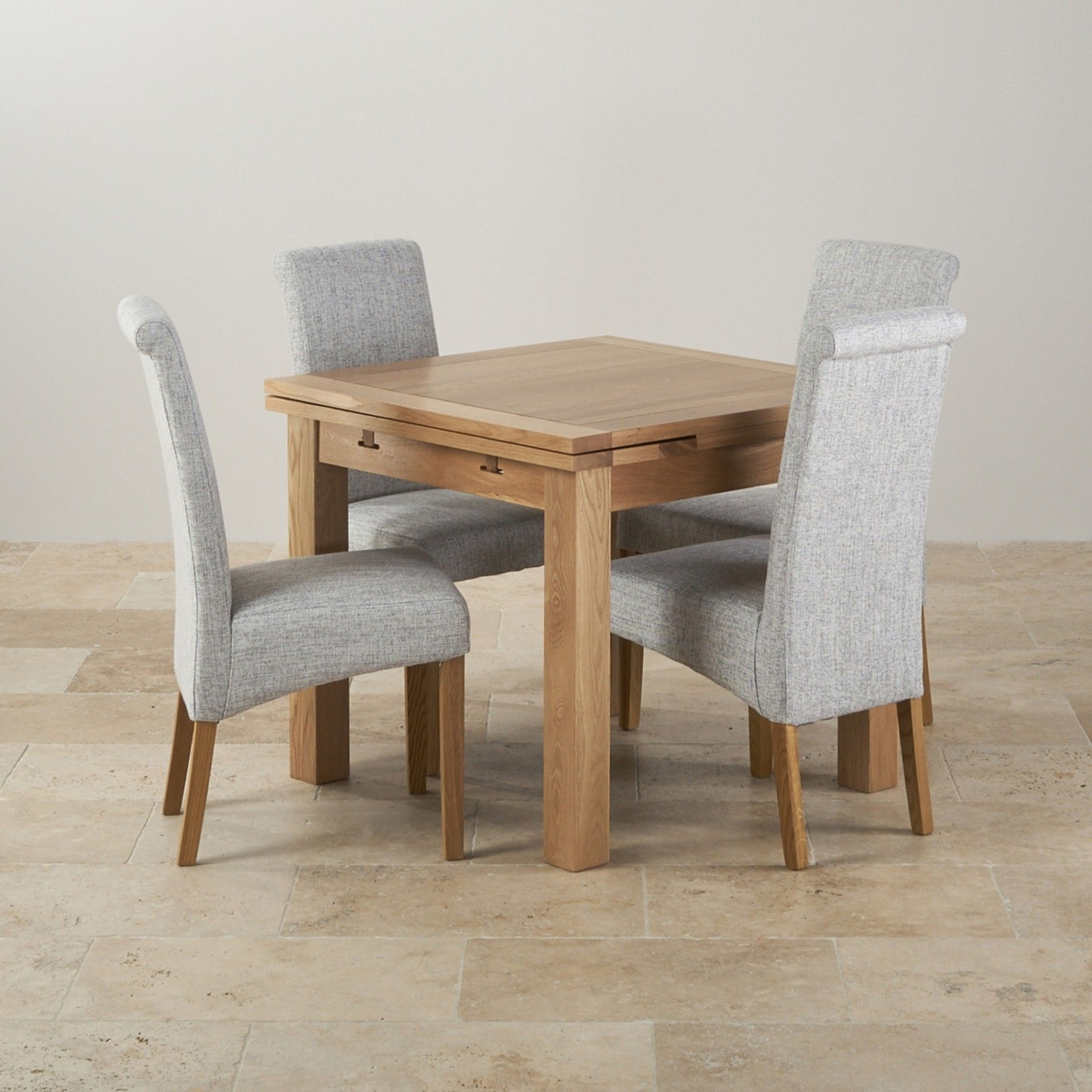 Most Popular Dining Tables And Fabric Chairs Within Dorset Natural Solid Oak Dining Set – 3Ft Extending Table With  (View 14 of 25)
