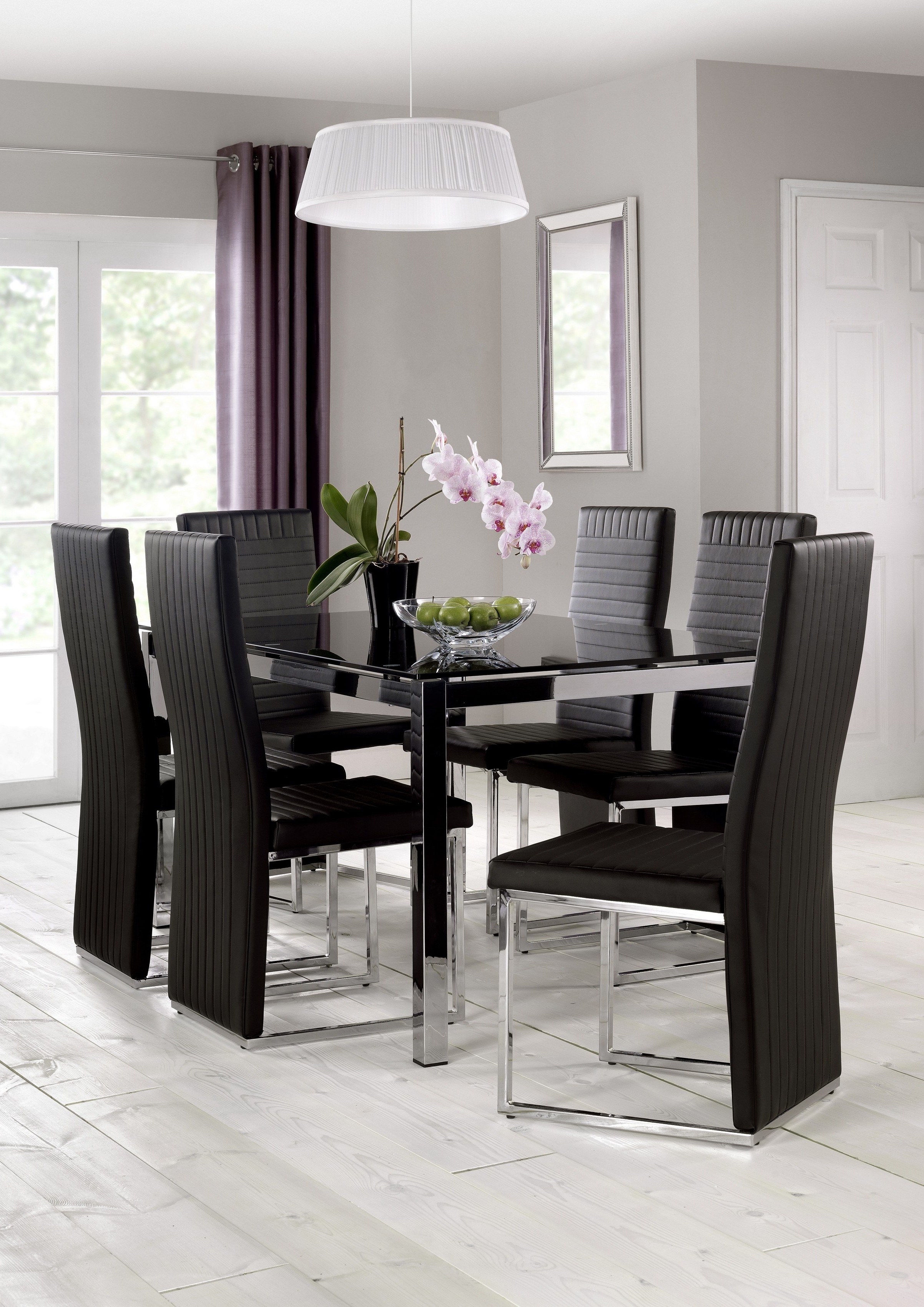 Most Popular Dining Tables Black Glass Within Julian Bowentempo Chrome And Black Glass Dining Table (Gallery 10 of 25)