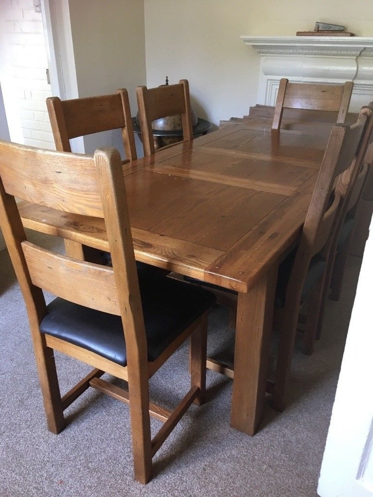Most Popular Extendable Dining Tables And 6 Chairs Regarding Solid Oak Extendable Dining Table & 6 Chairs (View 15 of 25)