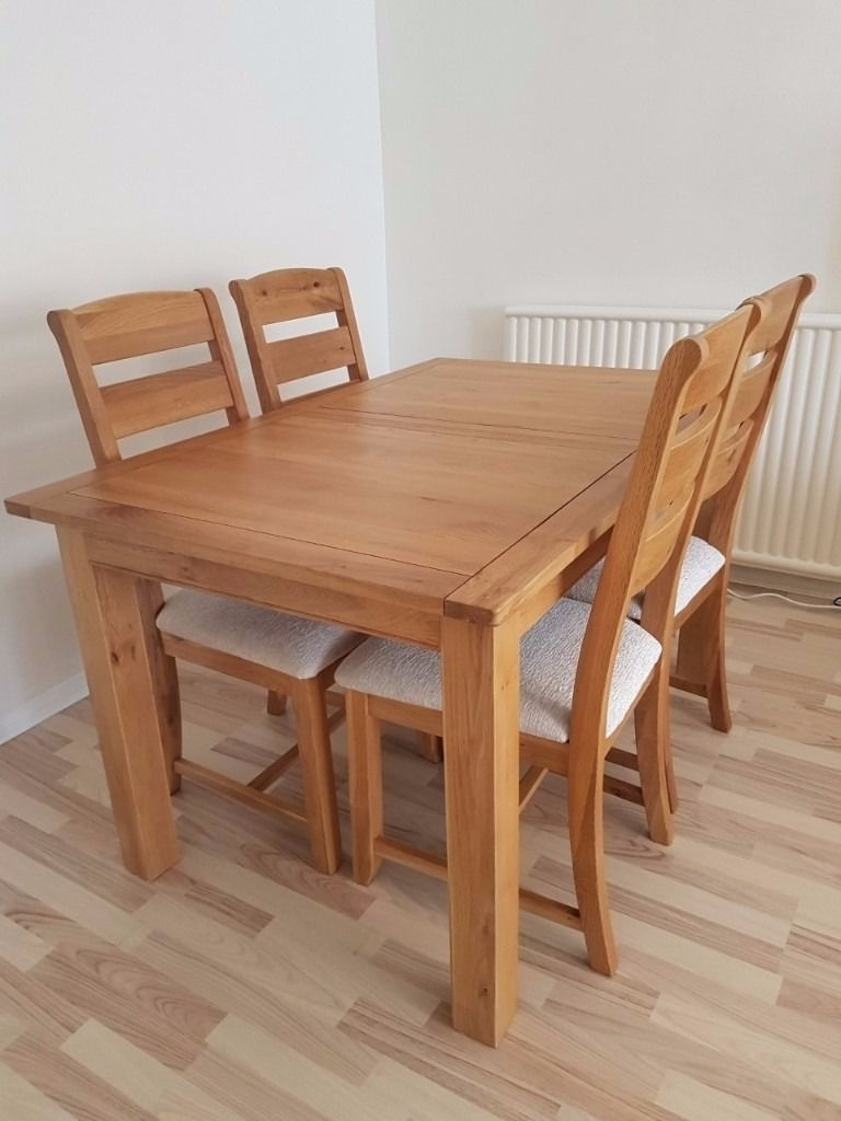 Most Popular Extending Dining Tables And 4 Chairs Inside Harveys Keswick Solid Oak Extending Dining Table + 4 Chairs Cream (View 10 of 25)