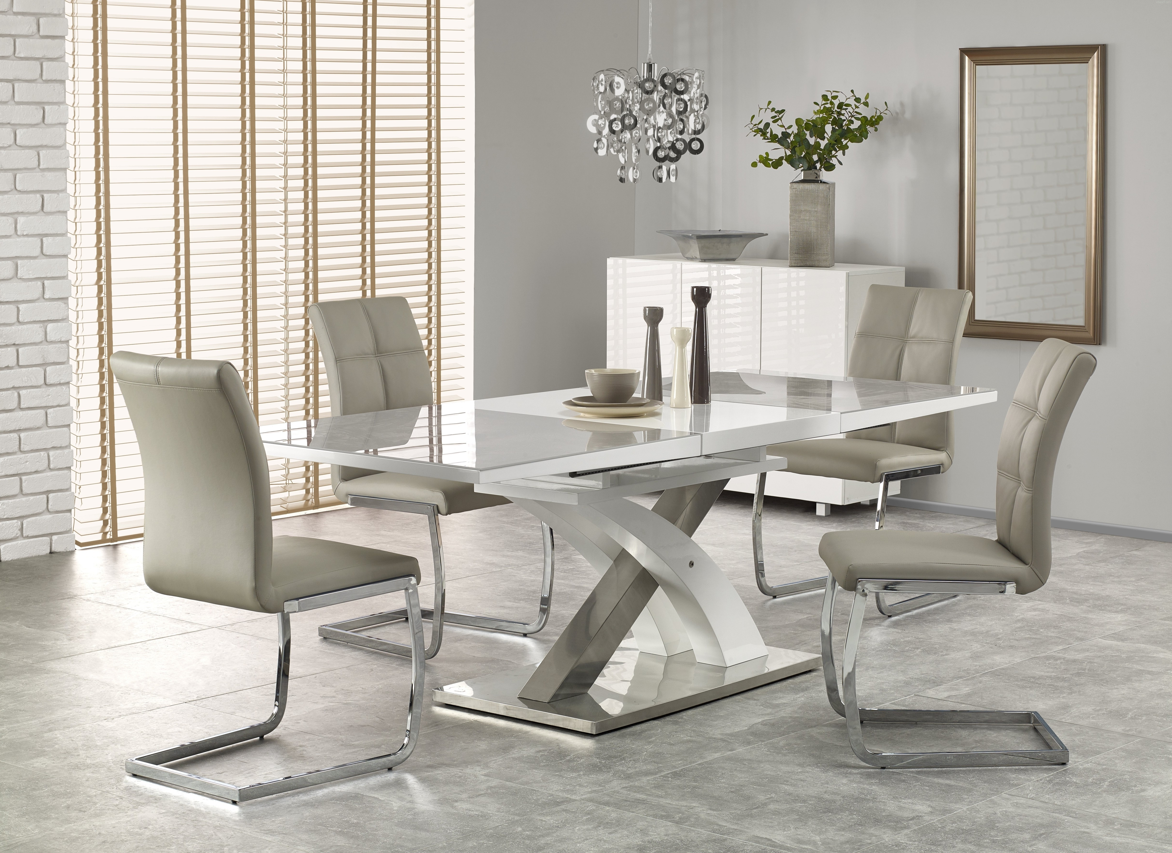 Most Popular Extending Marble Dining Tables Regarding Buy Harmony High Gloss White Grey Glass Extendable Dining Table (View 8 of 25)