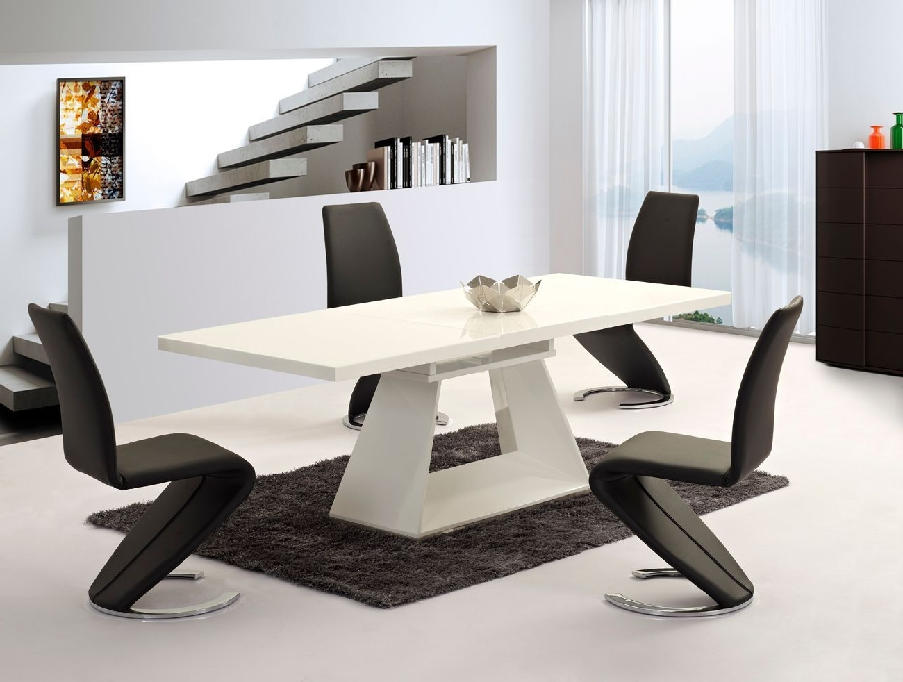 Most Popular Extending White High Gloss Dining Table And 6 Chairs – Homegenies Throughout Black Glass Extending Dining Tables 6 Chairs (Gallery 9 of 25)