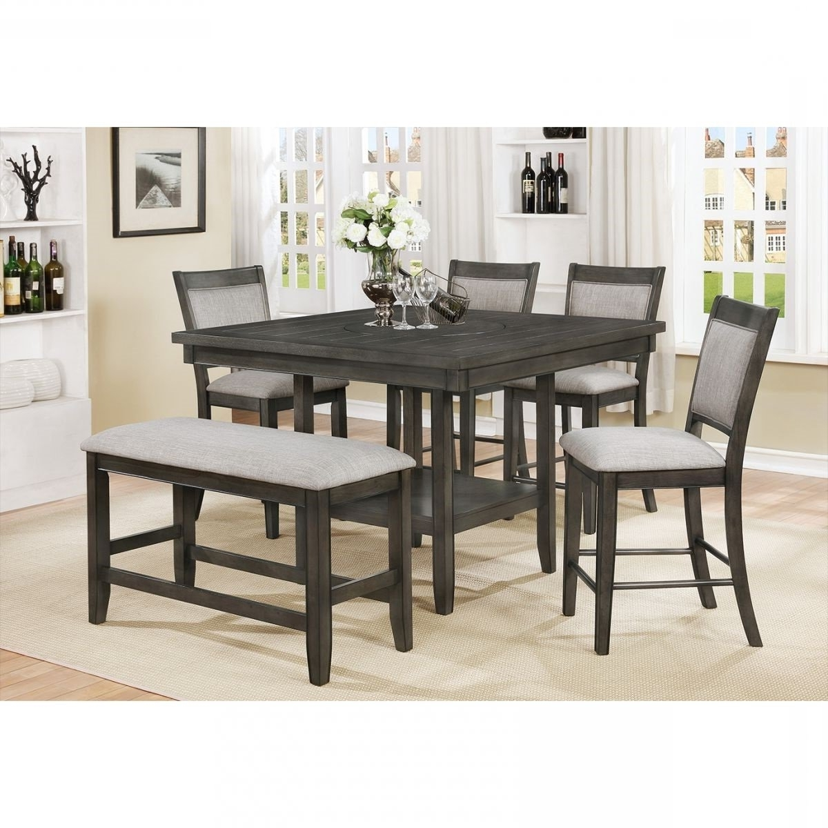 Most Popular Fulton Gray 6 Pc Counter Height Dining Room (View 9 of 25)